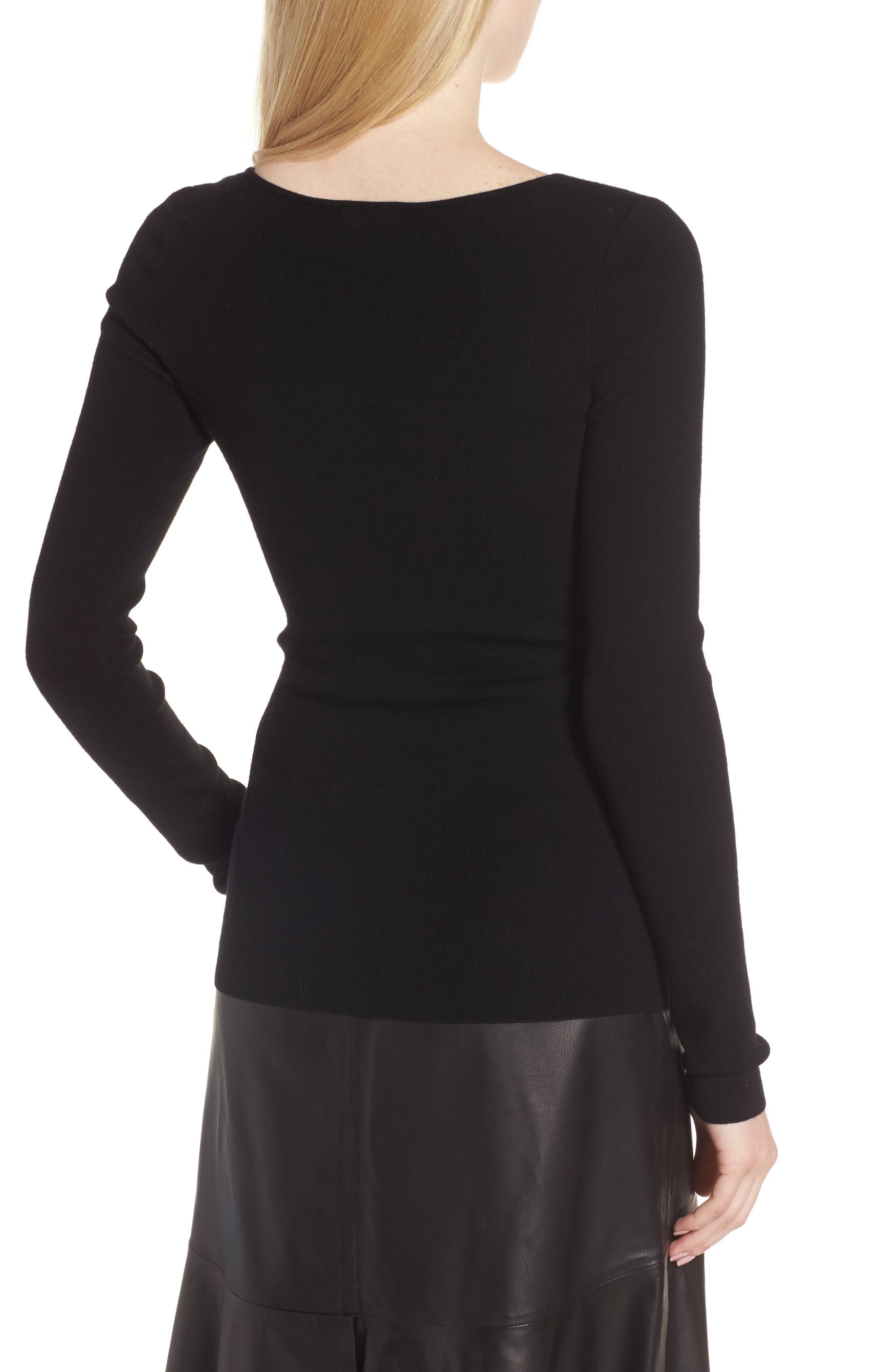 Square Neck Merino Wool Blend Sweater,                             Alternate thumbnail 2, color,                             001