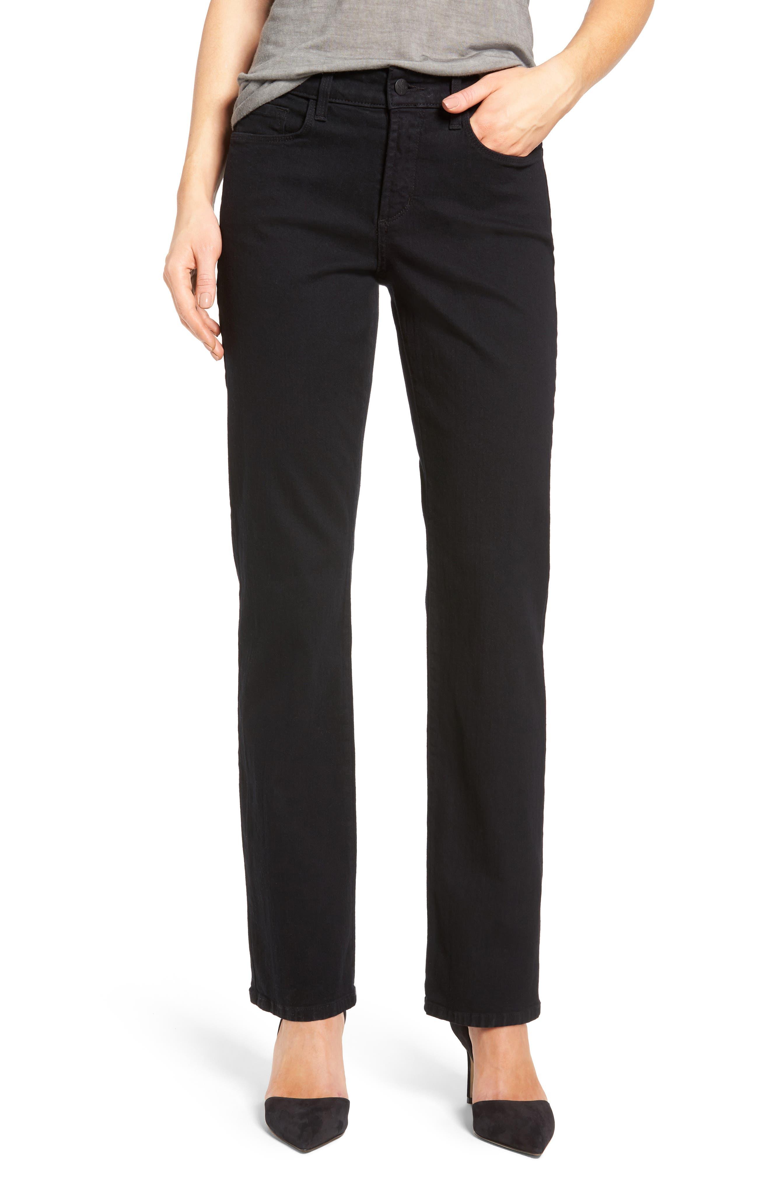 NYDJ,                             Marilyn High Waist Stretch Straight Leg Jeans,                             Main thumbnail 1, color,                             BLACK