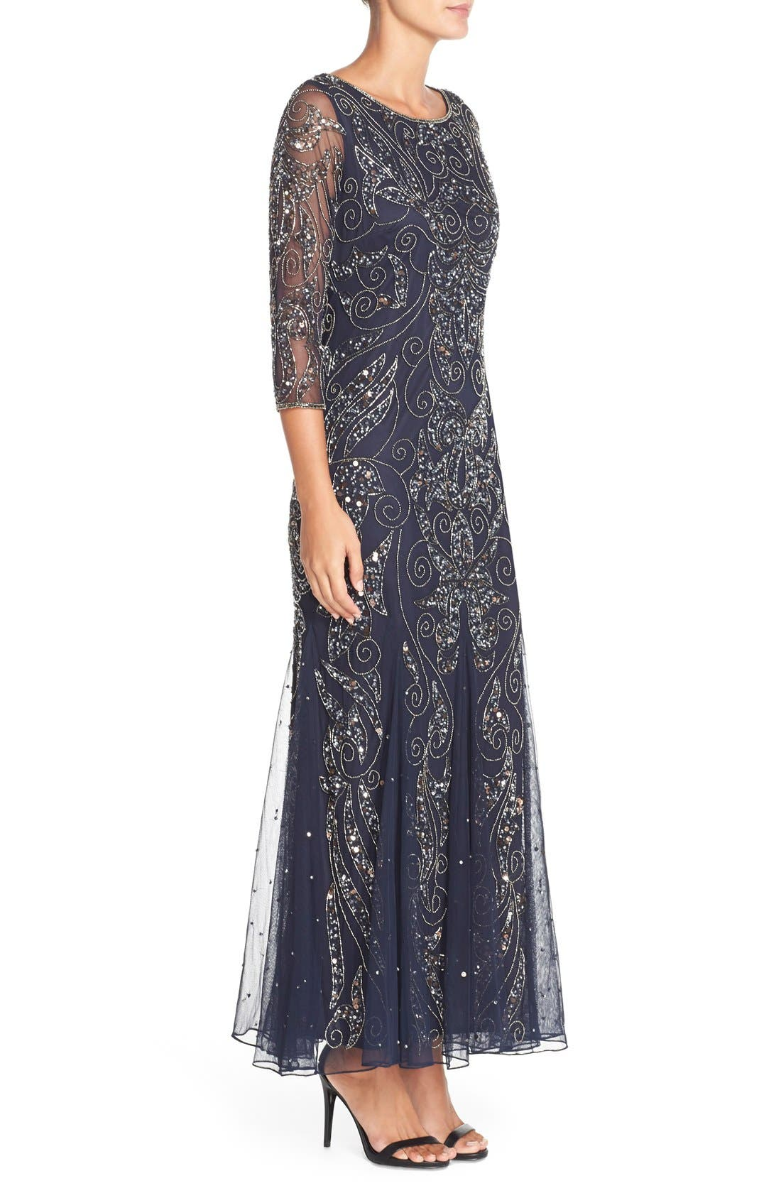 Embellished Mesh Gown,                             Alternate thumbnail 4, color,                             NAVY