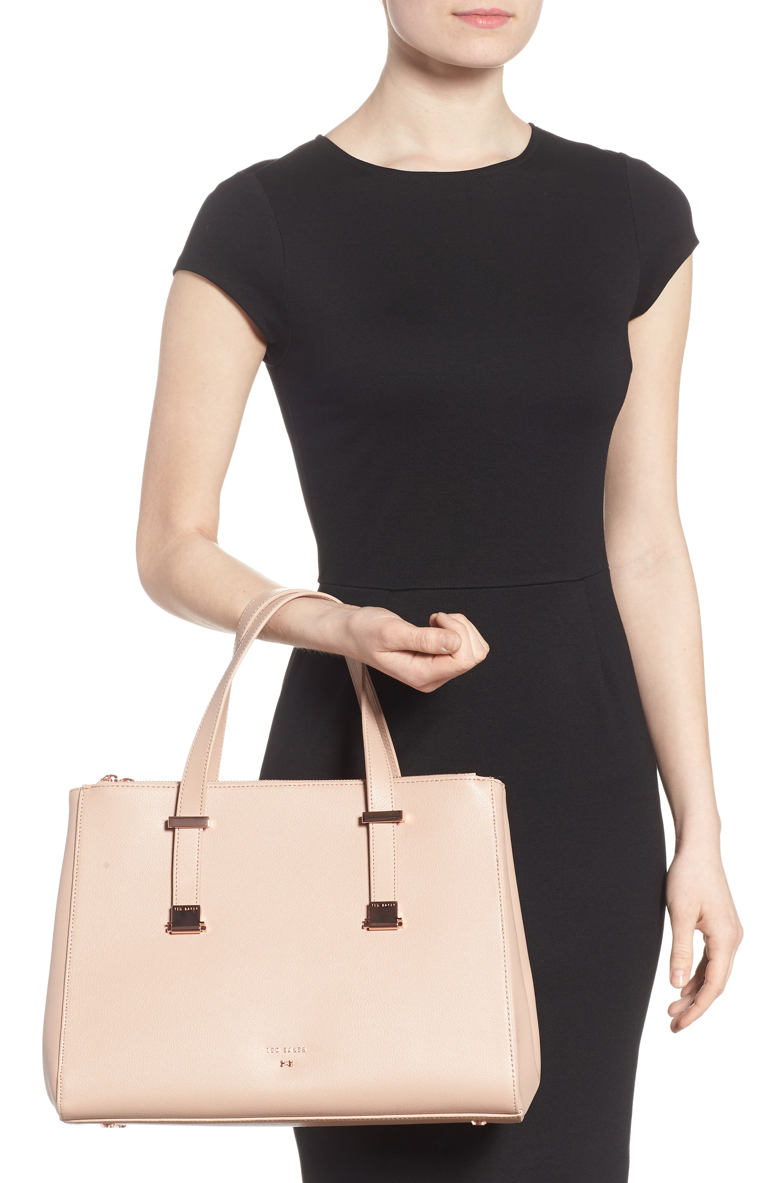 Aminaa Large Adjustable Handle Leather Shopper,                             Alternate thumbnail 2, color,