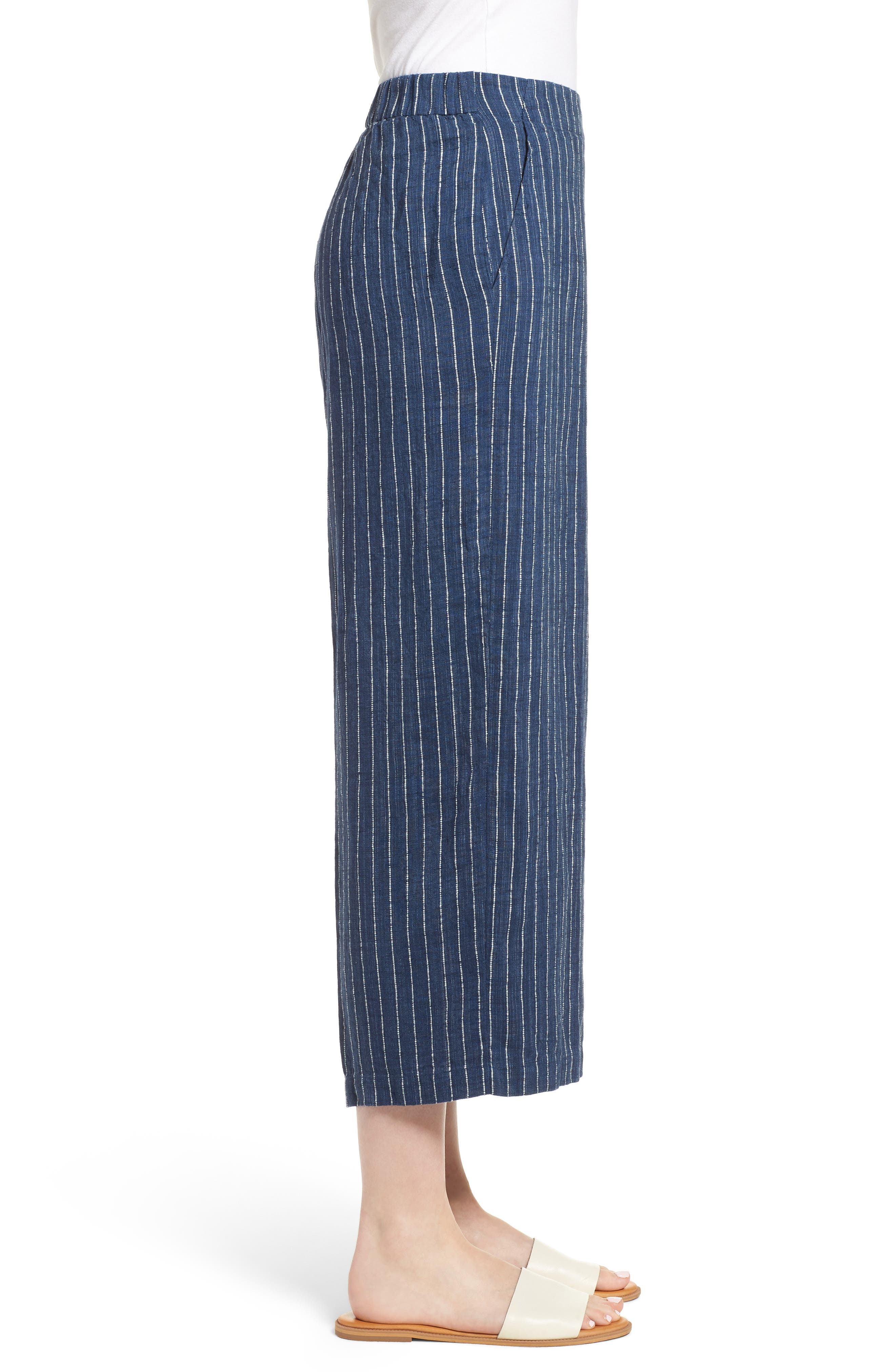 Stripe Linen Crop Pants,                             Alternate thumbnail 3, color,