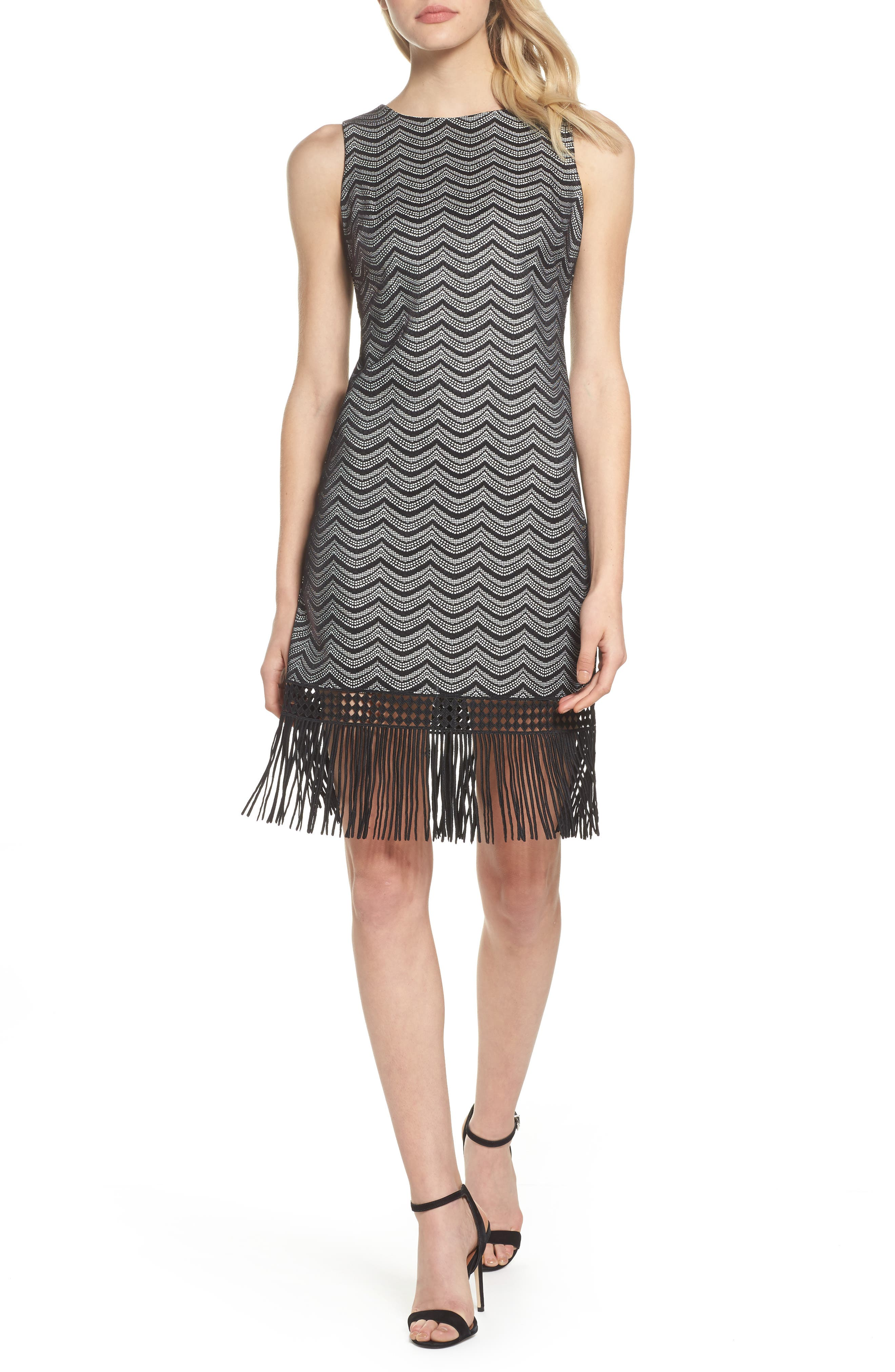 Fringe Sheath Dress,                             Main thumbnail 1, color,                             001