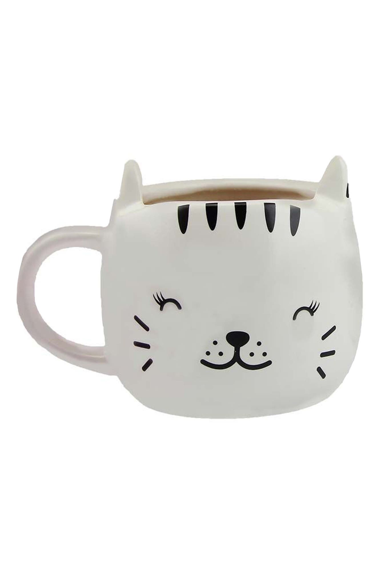 Happy Cat Heat Change Mug,                             Main thumbnail 1, color,                             WHITE