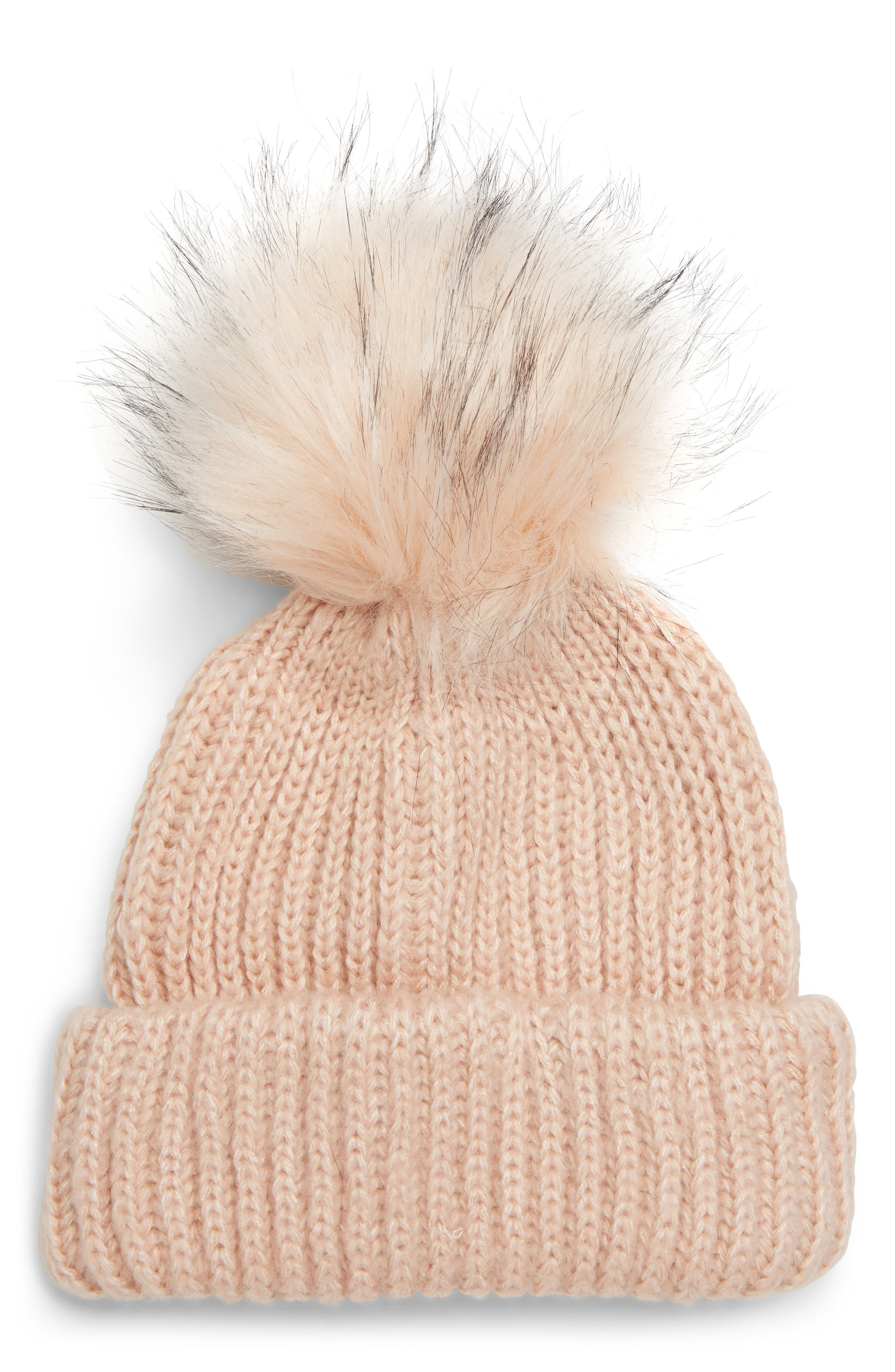Faux Fur Pompom Beanie, Main, color, LIGHT PINK