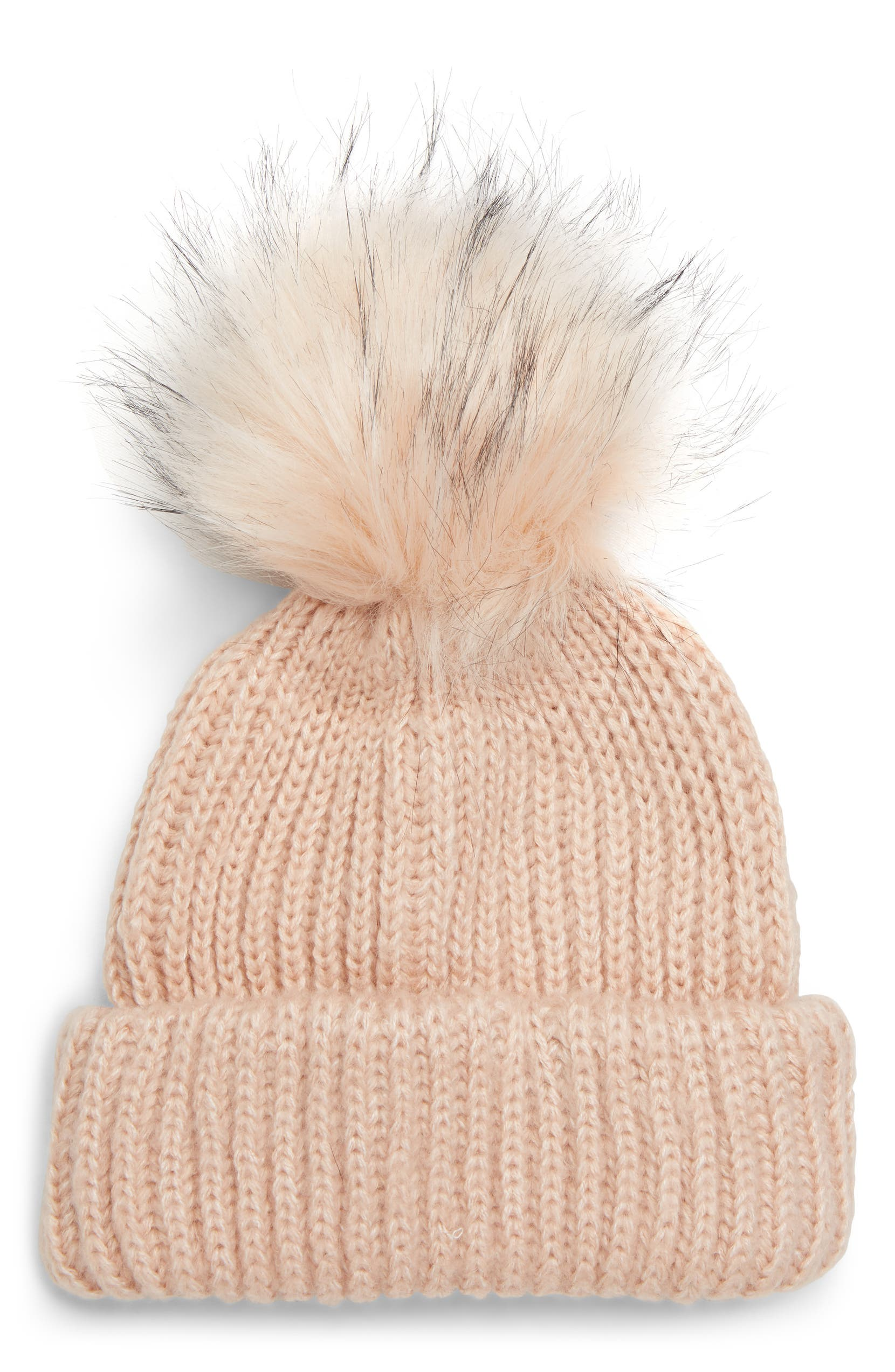 Faux Fur Pompom Beanie, Main, color, LIGHT PINK