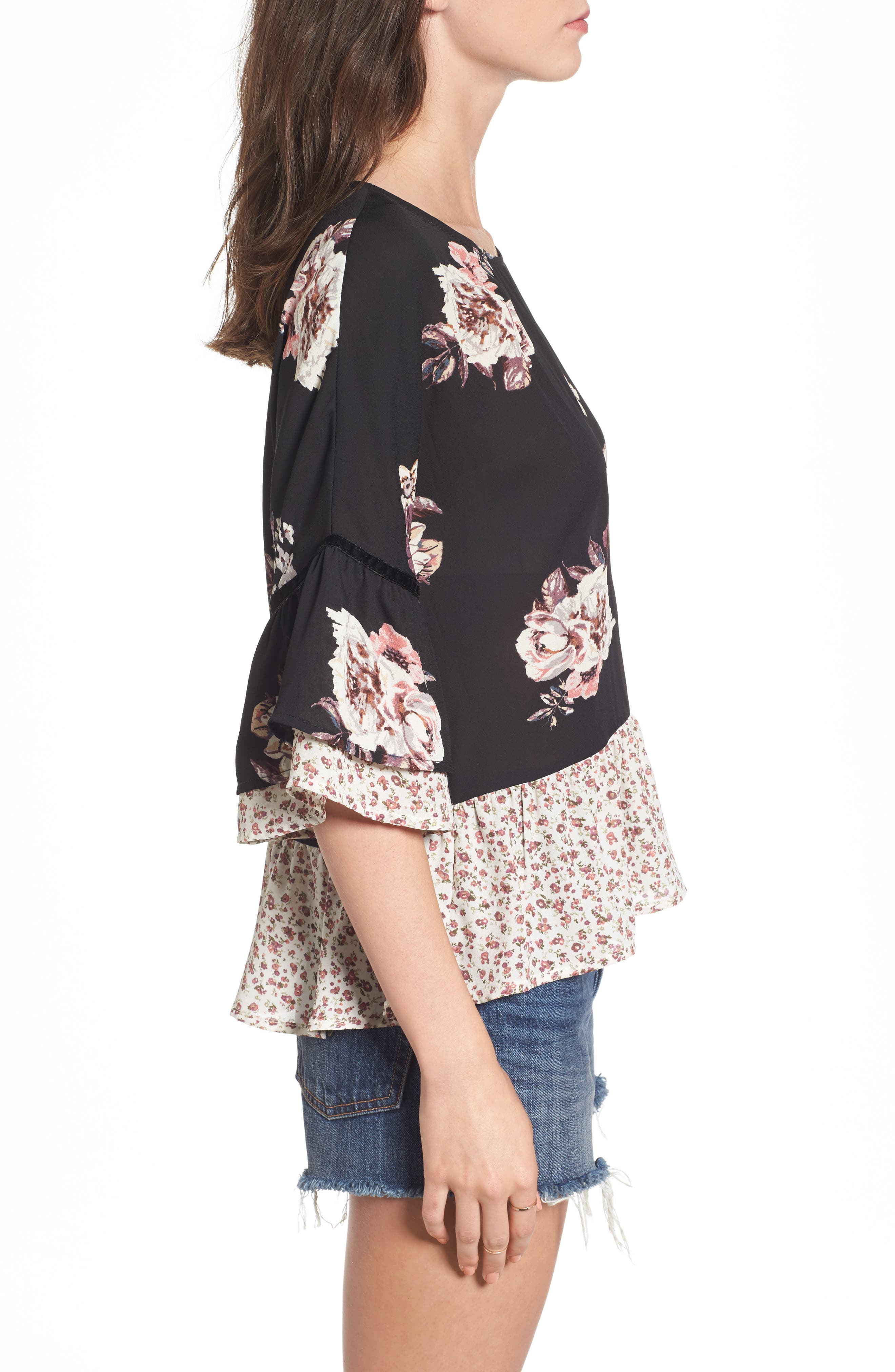 Remix Floral Peplum Top,                             Alternate thumbnail 3, color,                             001