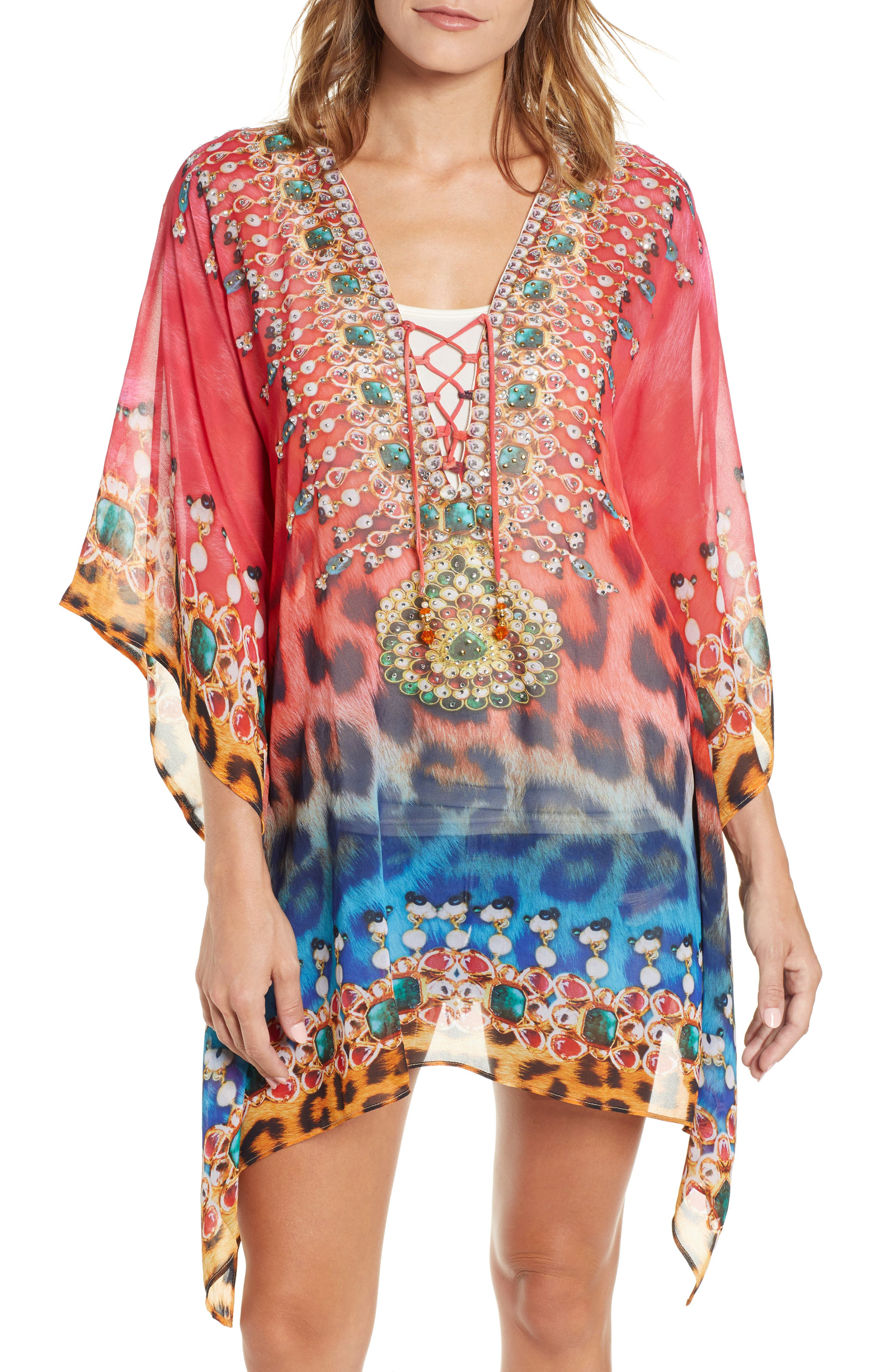 Positano Short Kaftan,                             Main thumbnail 1, color,                             RED/BLUE MULTI