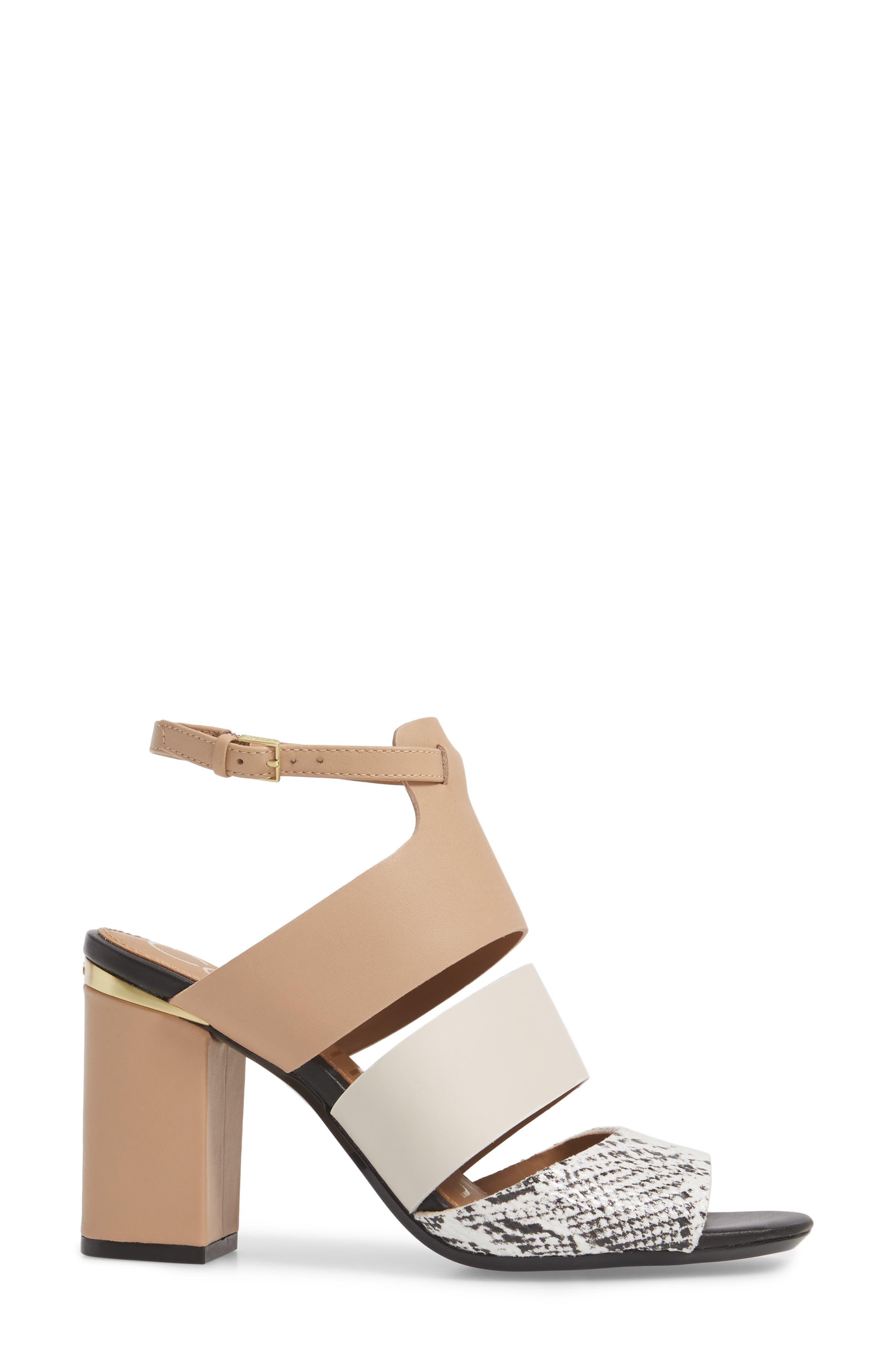 Caran Block Heel Sandal,                             Alternate thumbnail 3, color,                             BLACK/ WHITE LEATHER