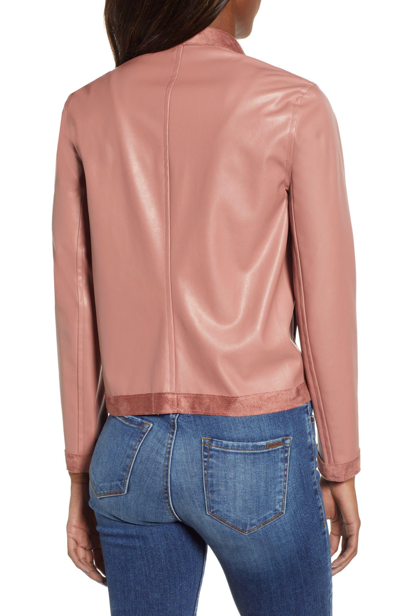 c75b8c509 Teagan Reversible Faux Leather Drape Front Jacket