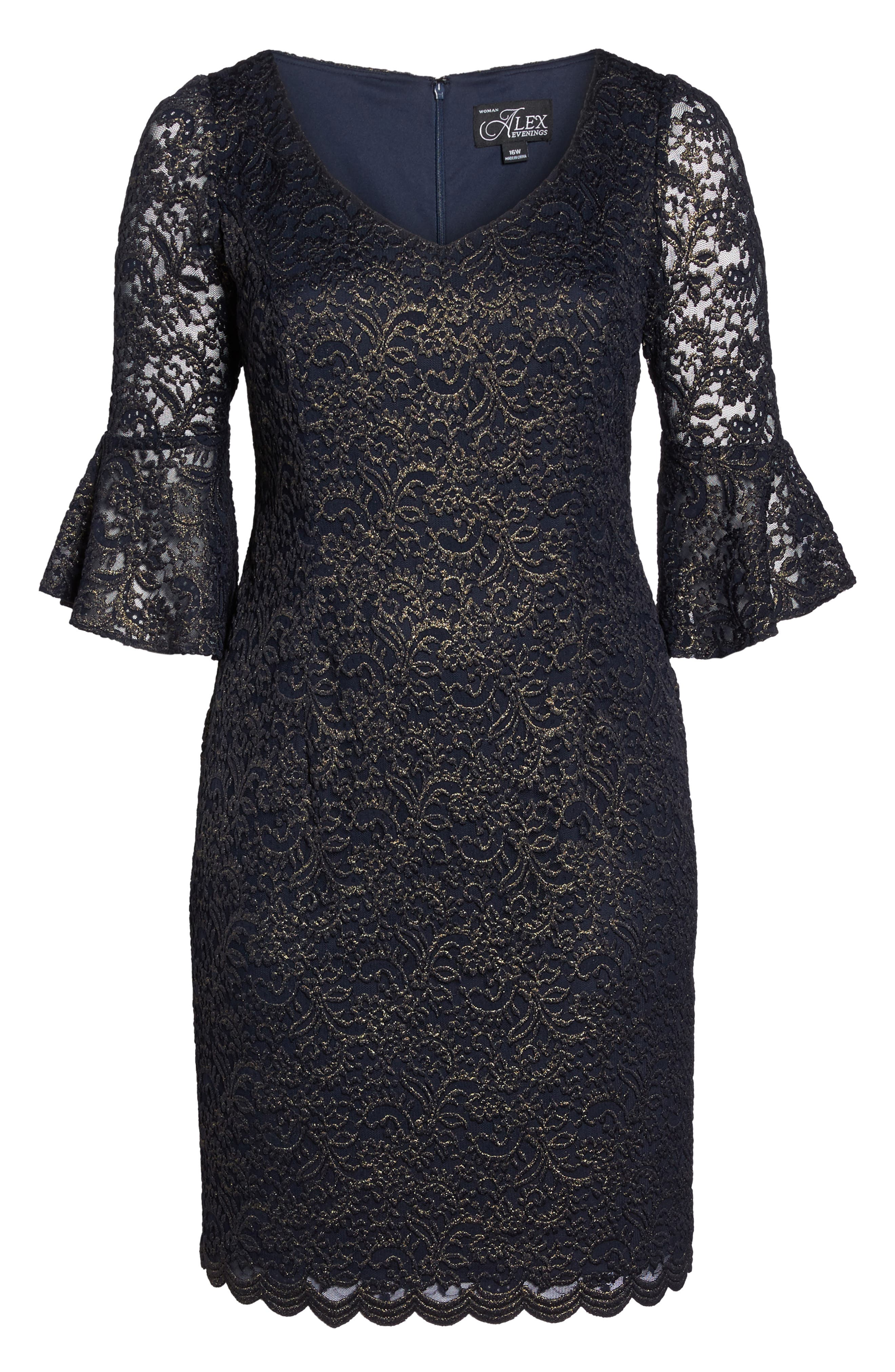 Metallic Lace Sheath Dress,                             Alternate thumbnail 6, color,