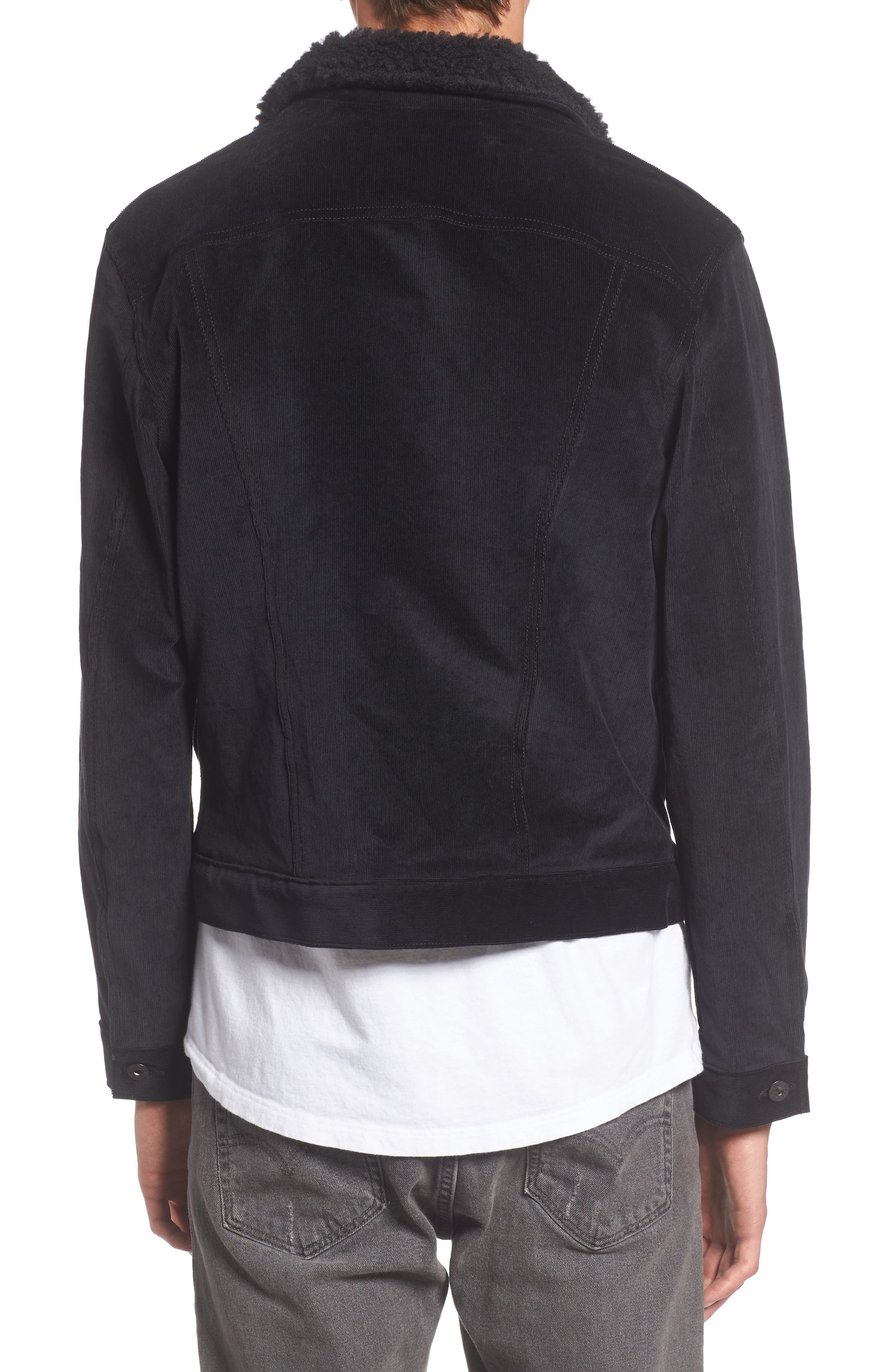 Corduroy Jacket with Faux Shearling Trim,                             Alternate thumbnail 2, color,                             001