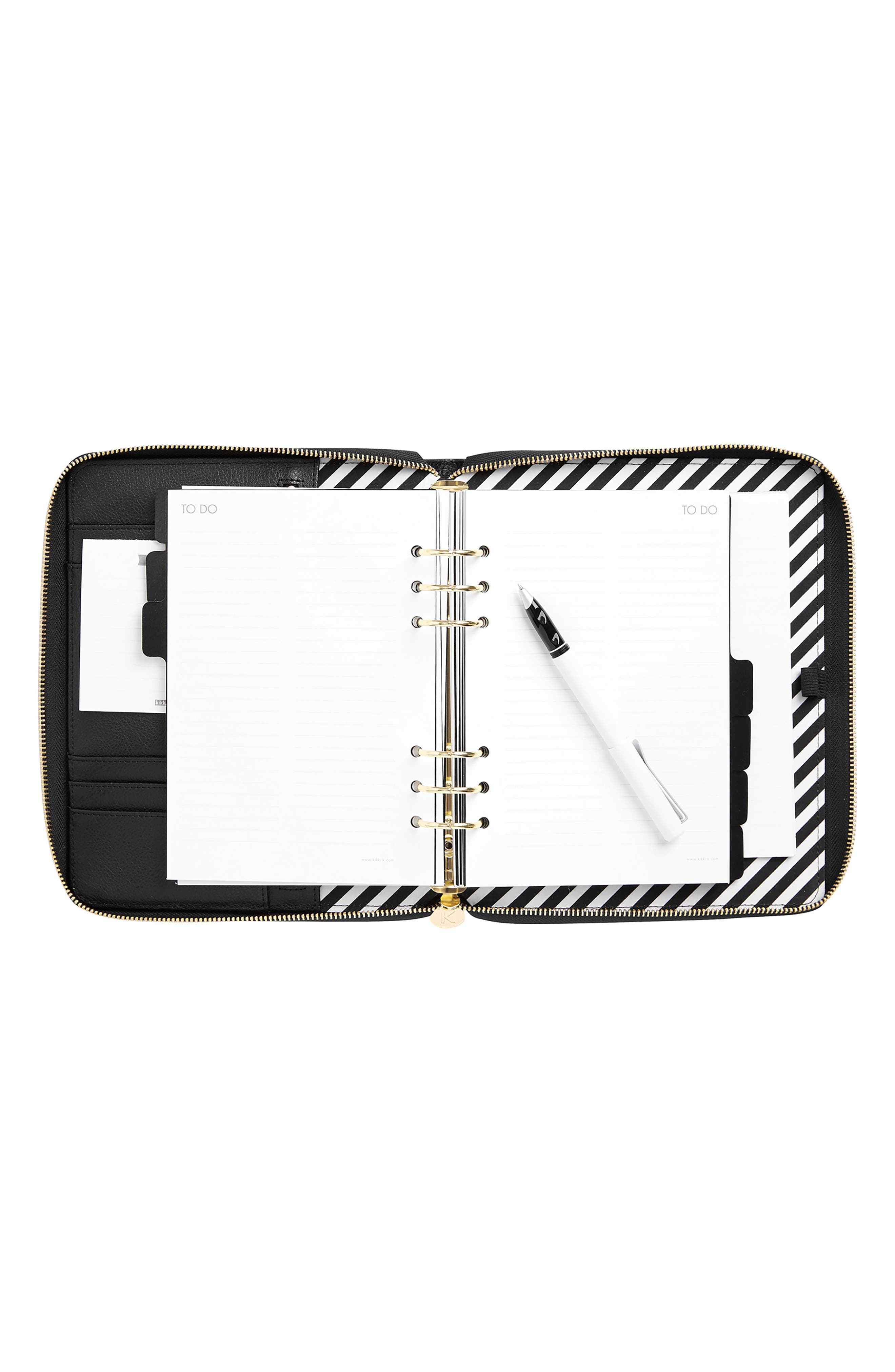 Zip-Around Leather 18-Month Perpetual Planner,                             Alternate thumbnail 3, color,                             JET BLACK LARGE