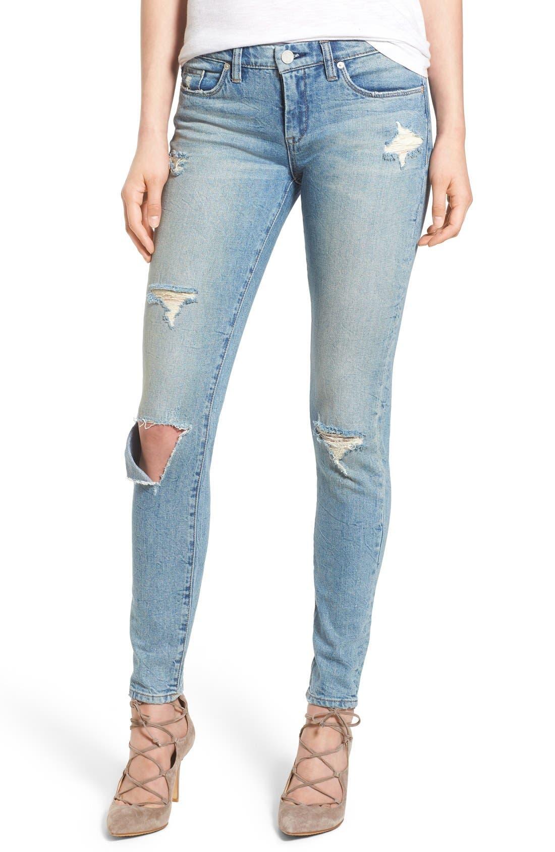 'Skinny Dipper' Distressed Skinny Jeans,                             Main thumbnail 1, color,                             400
