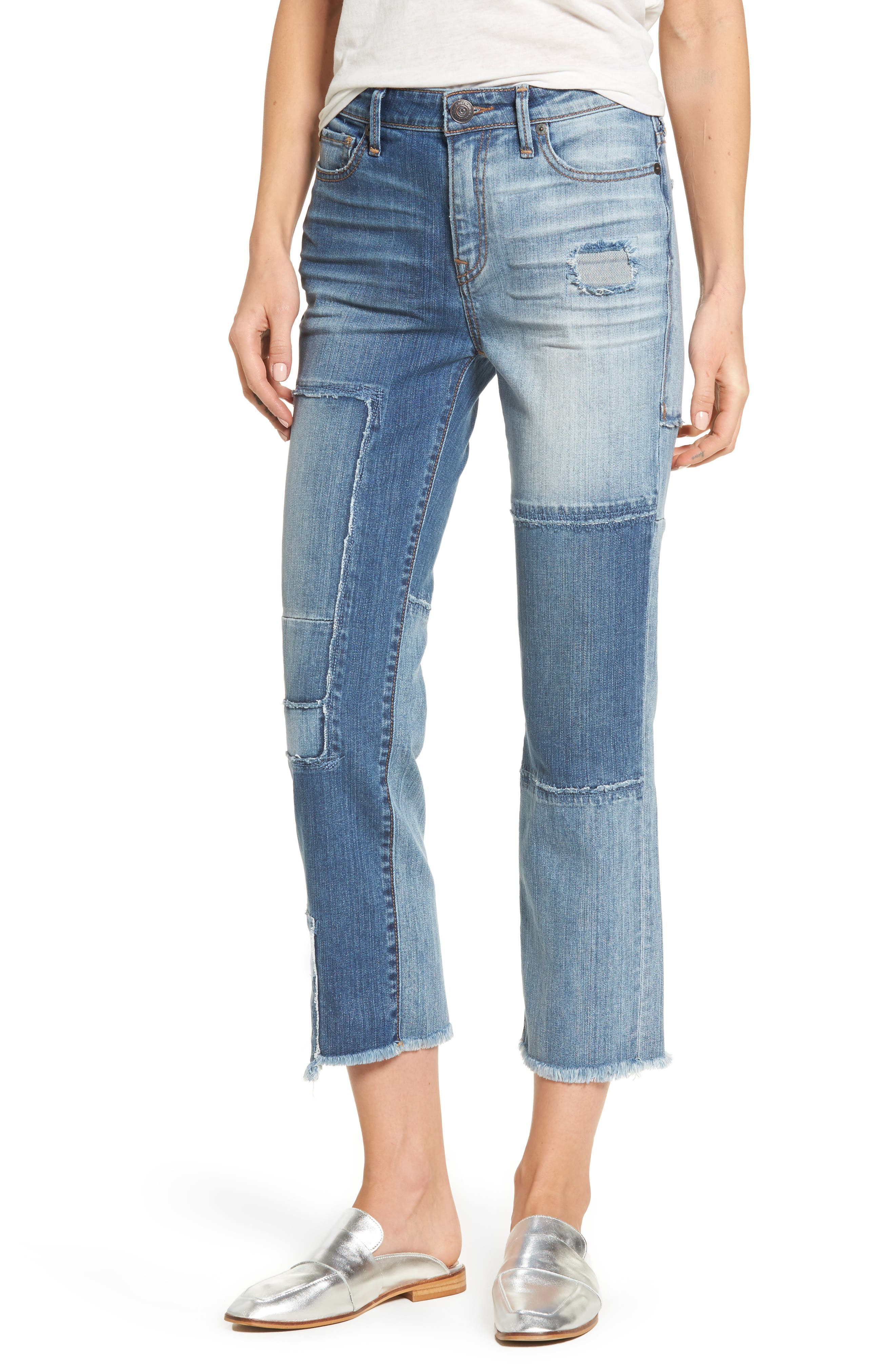 Stovepipe High Waist Crop Jeans,                             Main thumbnail 1, color,                             401