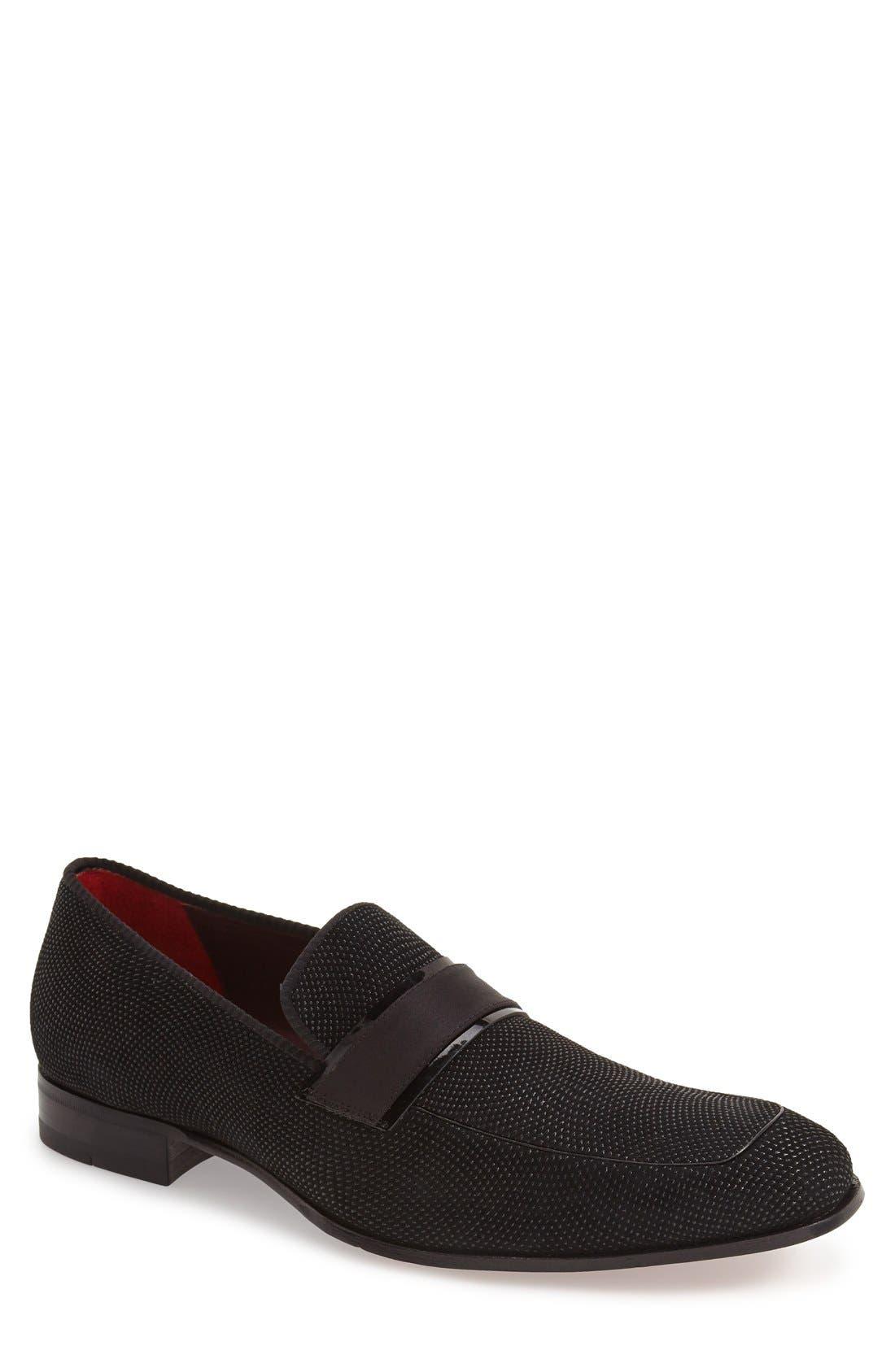 'Capizzi' Venetian Loafer,                             Main thumbnail 1, color,                             BLACK
