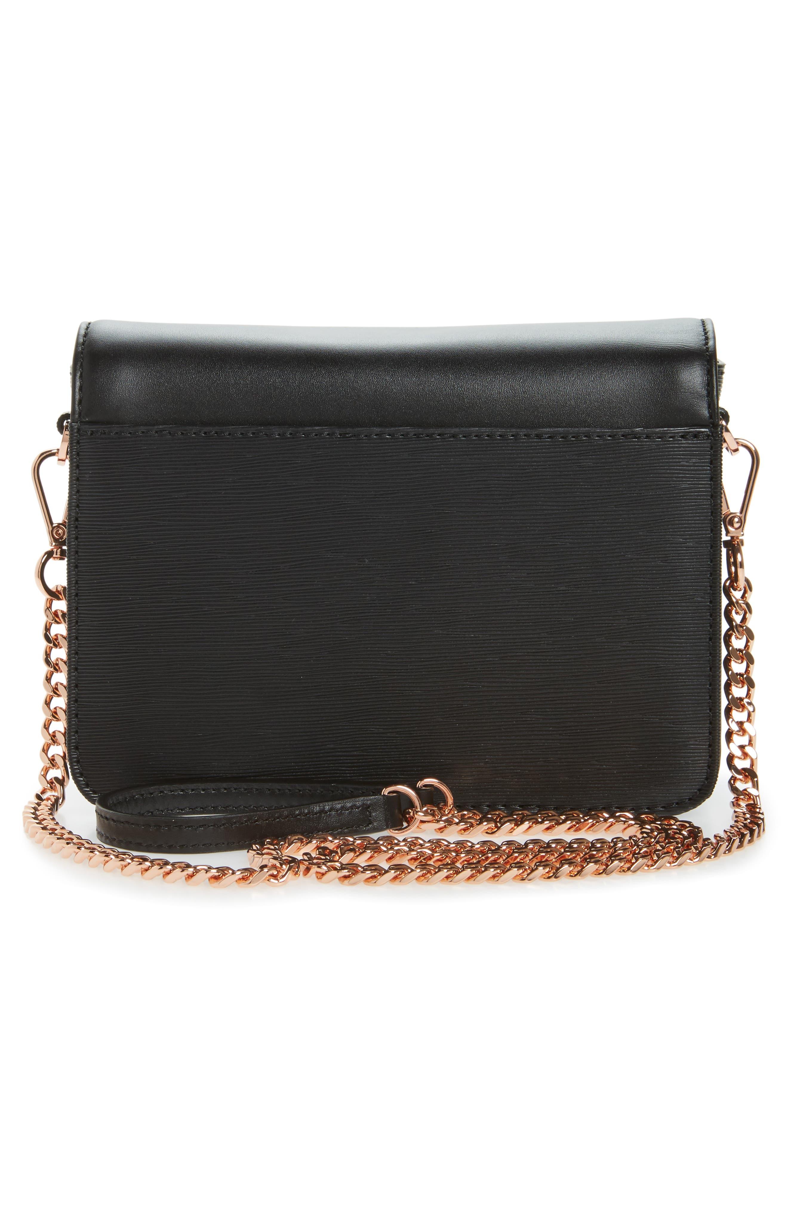 Callih Bow Leather Crossbody Bag,                             Alternate thumbnail 3, color,                             001
