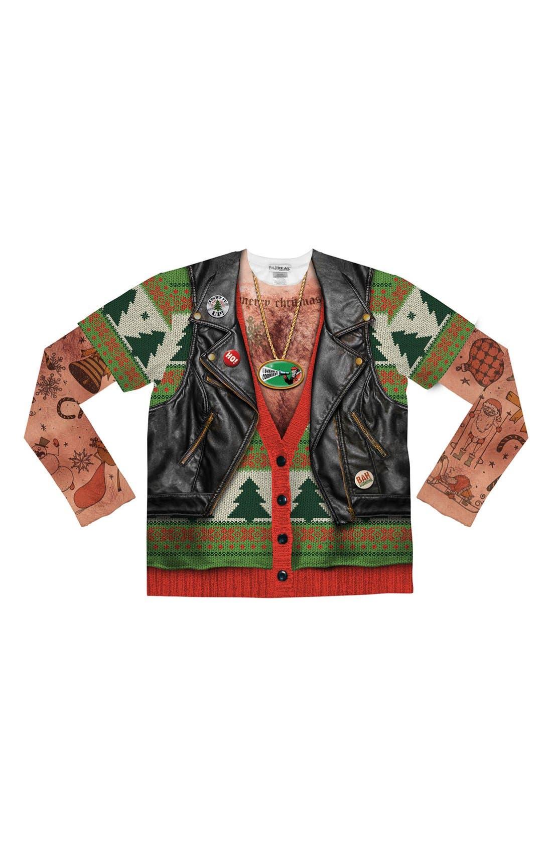 'Ugly Christmas Sweater - Biker Tattoo' Long Sleeve Novelty T-Shirt, Main, color, 300