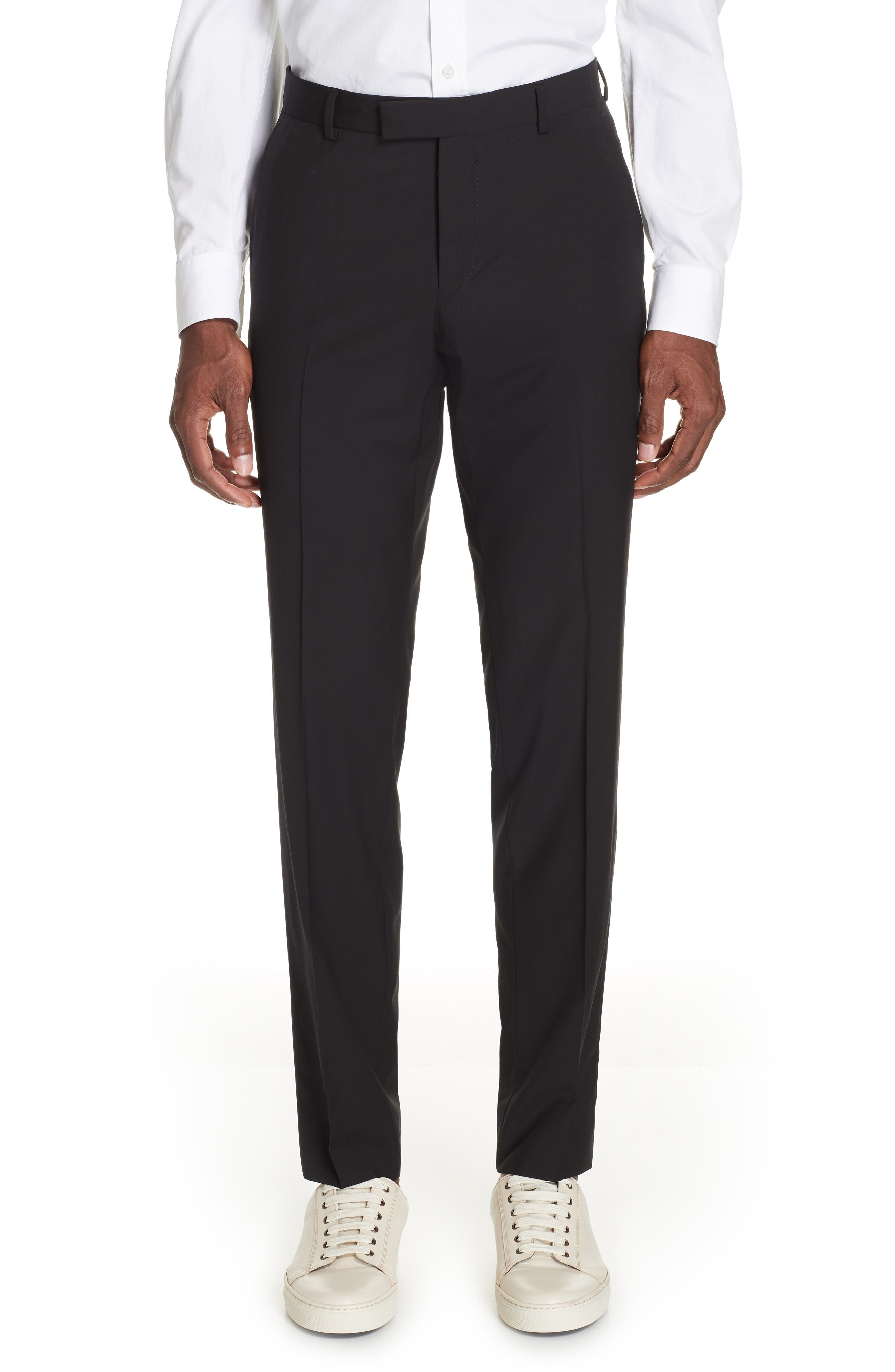 Wash and Go Trim Fit Solid Wool Suit,                             Alternate thumbnail 5, color,                             BLACK