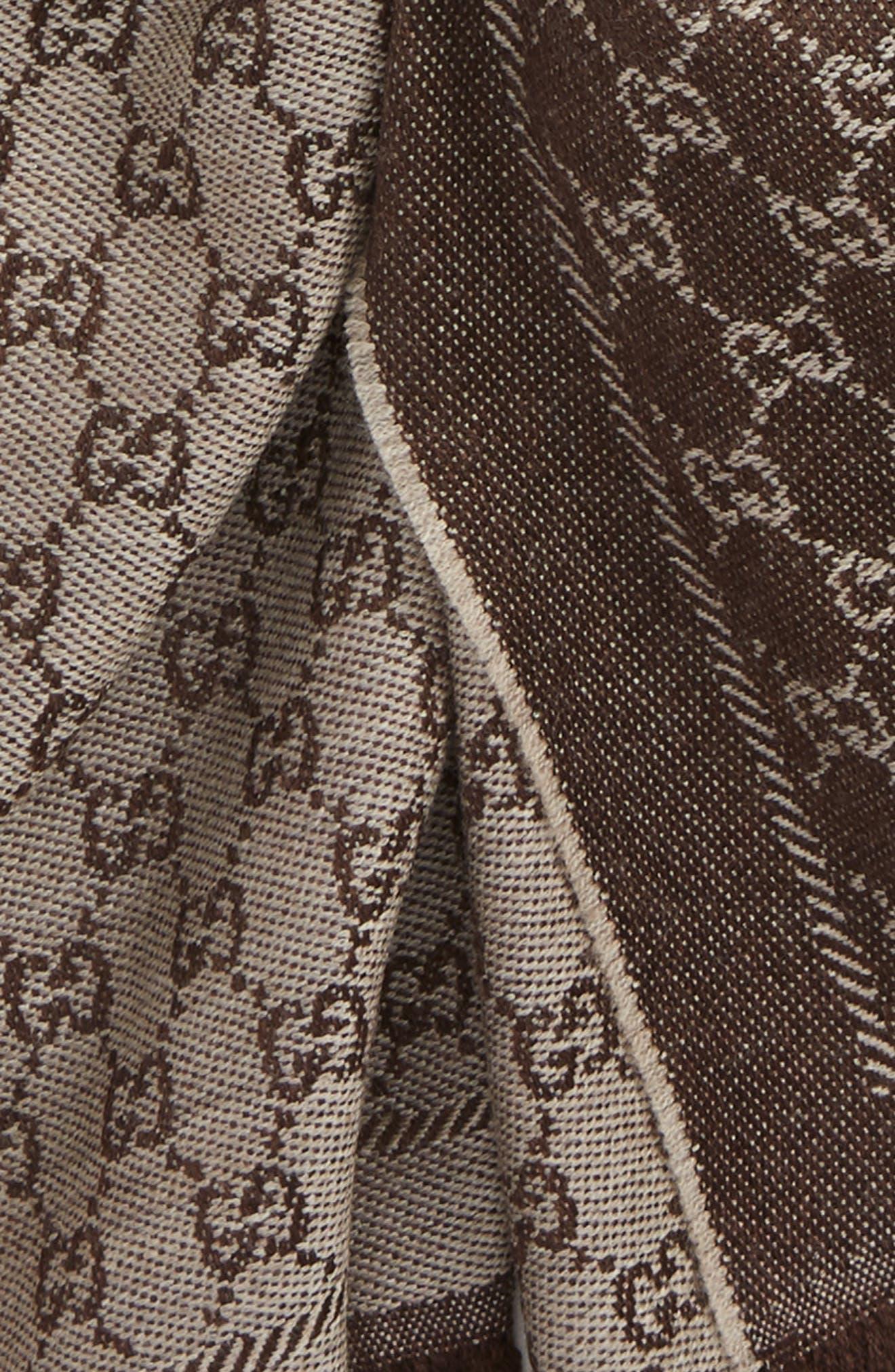 GG Jacquard Wool Scarf,                             Alternate thumbnail 3, color,                             BEIGE/ DARK BROWN