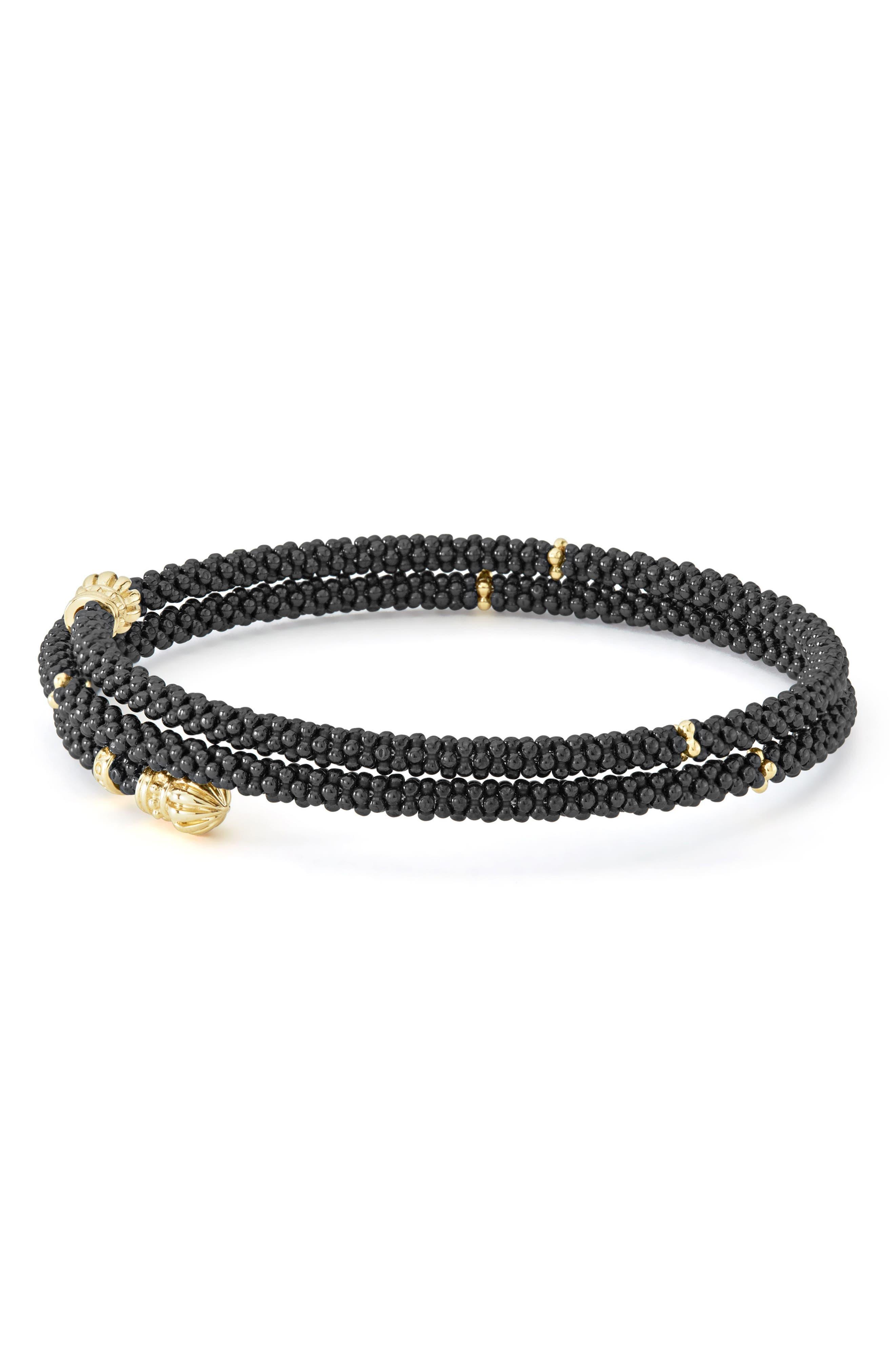 Gold & Black Caviar Coil Bracelet,                             Alternate thumbnail 4, color,                             GOLD