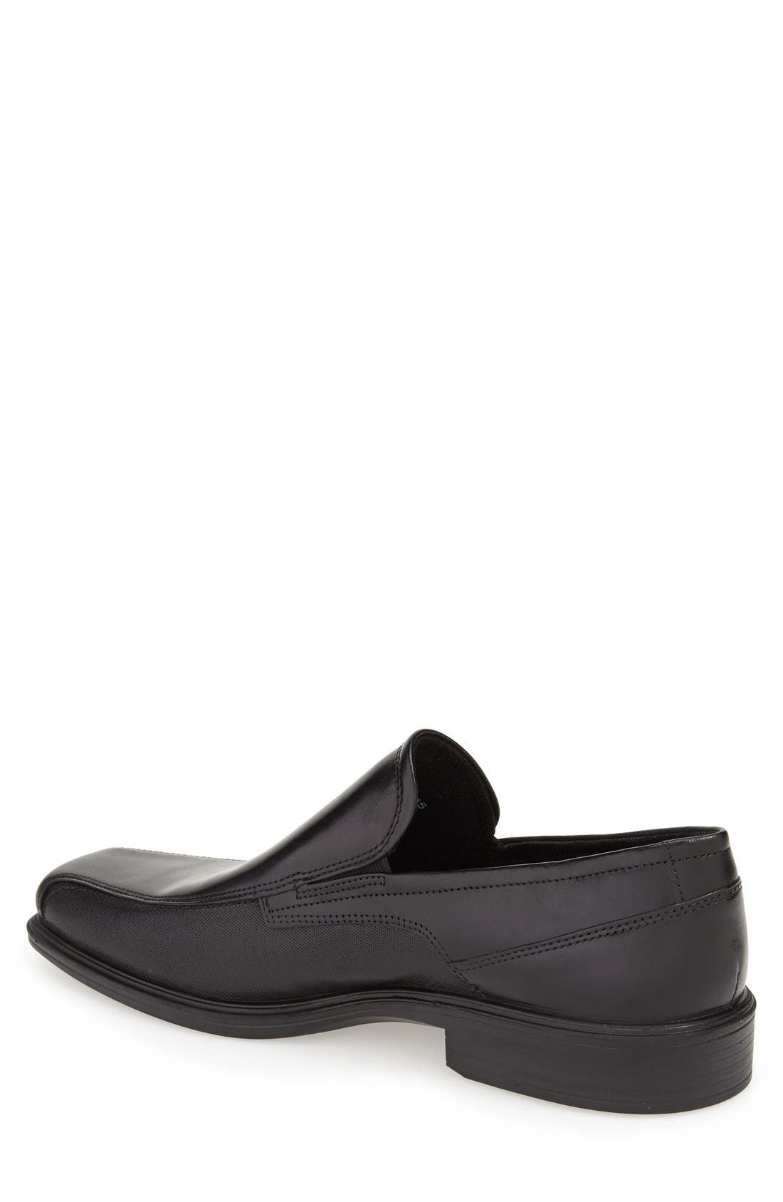 'Johannesburg' Venetian Loafer,                             Alternate thumbnail 2, color,                             BLACK LEATHER