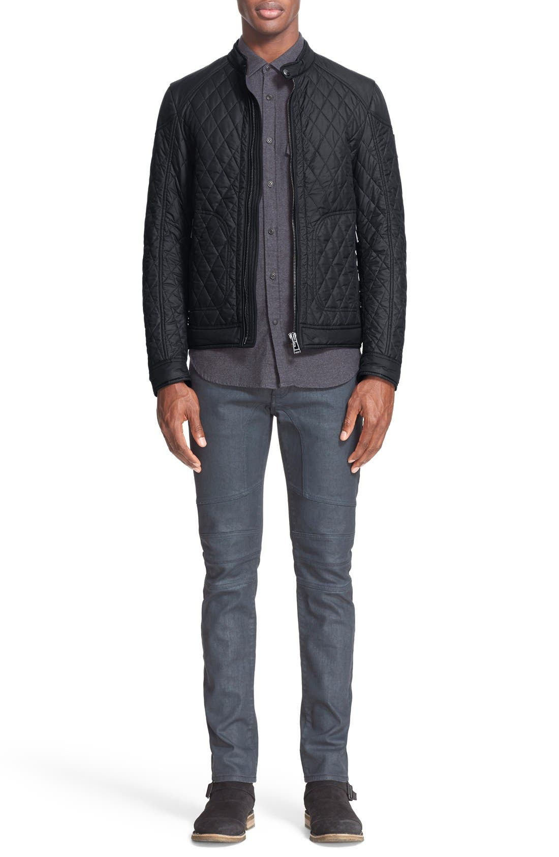 Bramley Quilted Moto Jacket,                             Alternate thumbnail 6, color,                             001