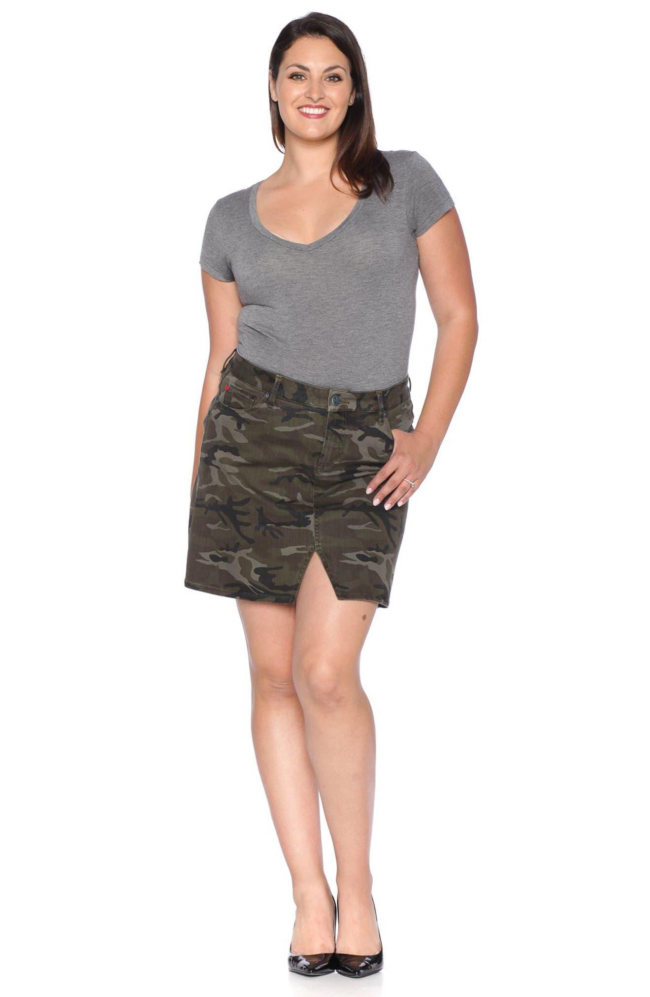 Camo Print Skirt,                             Alternate thumbnail 3, color,                             305
