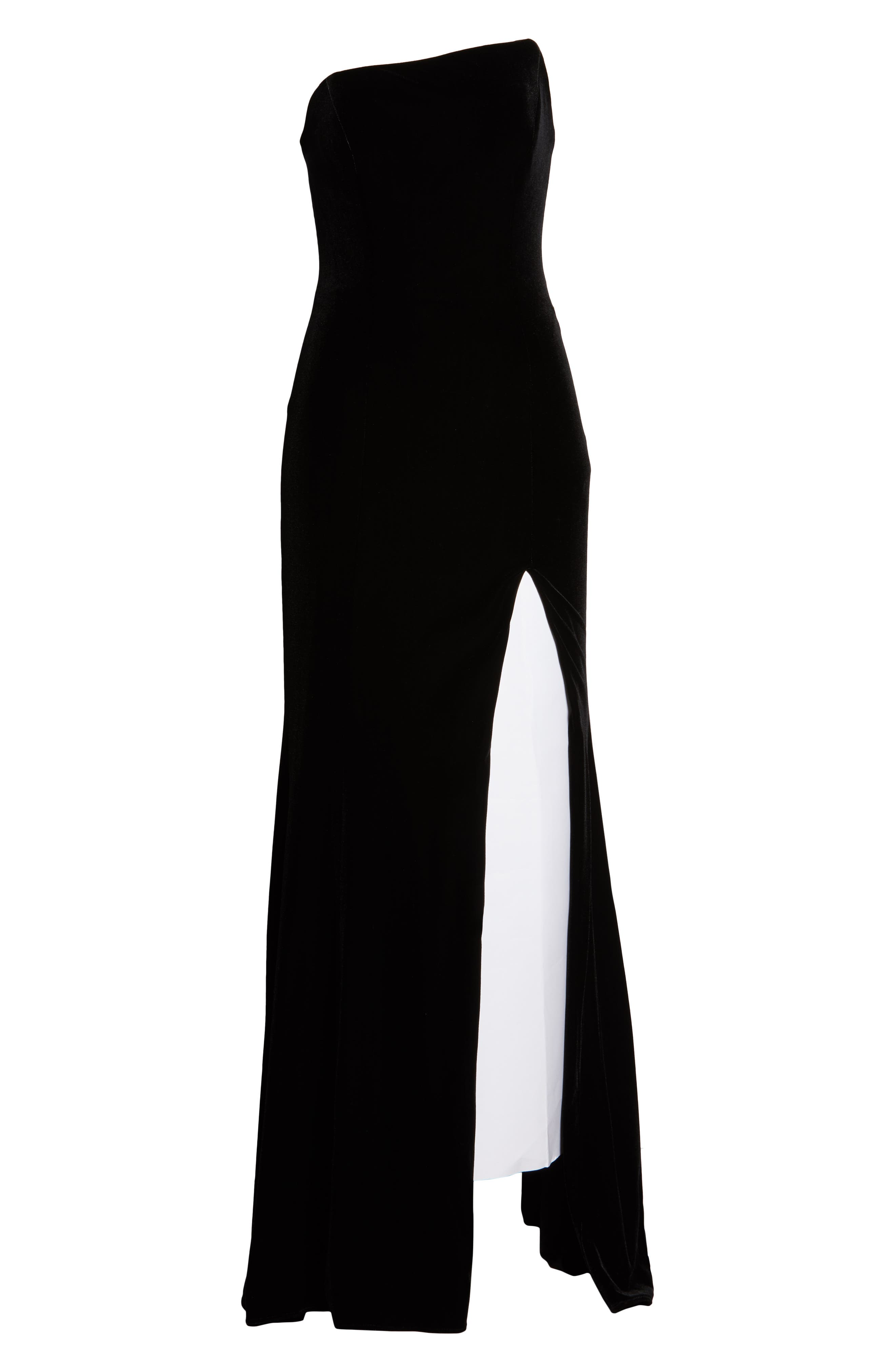 XSCAPE,                             Strapless Velvet Gown,                             Alternate thumbnail 7, color,                             BLACK