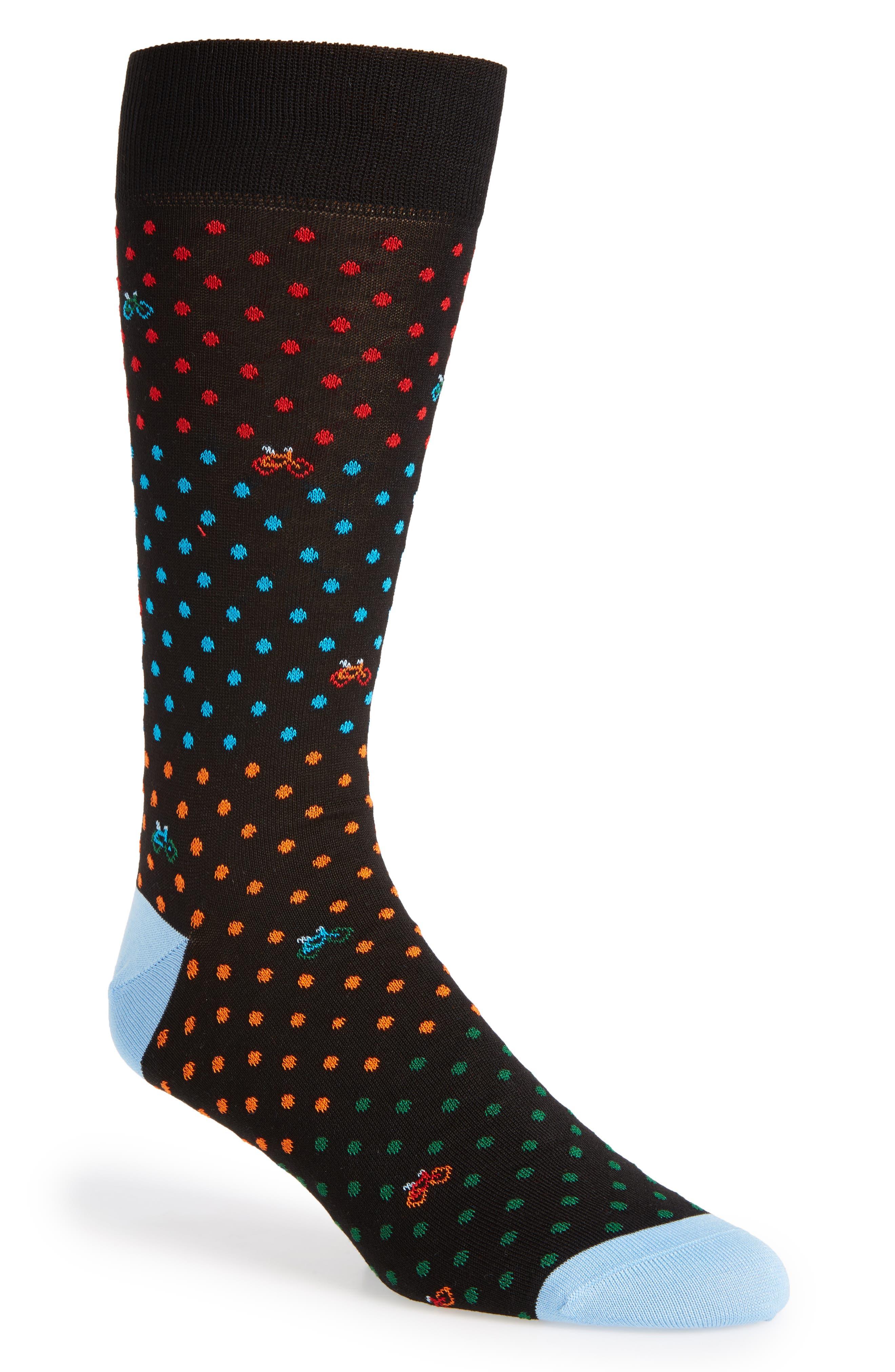 Dot Bike Socks,                             Main thumbnail 1, color,                             001