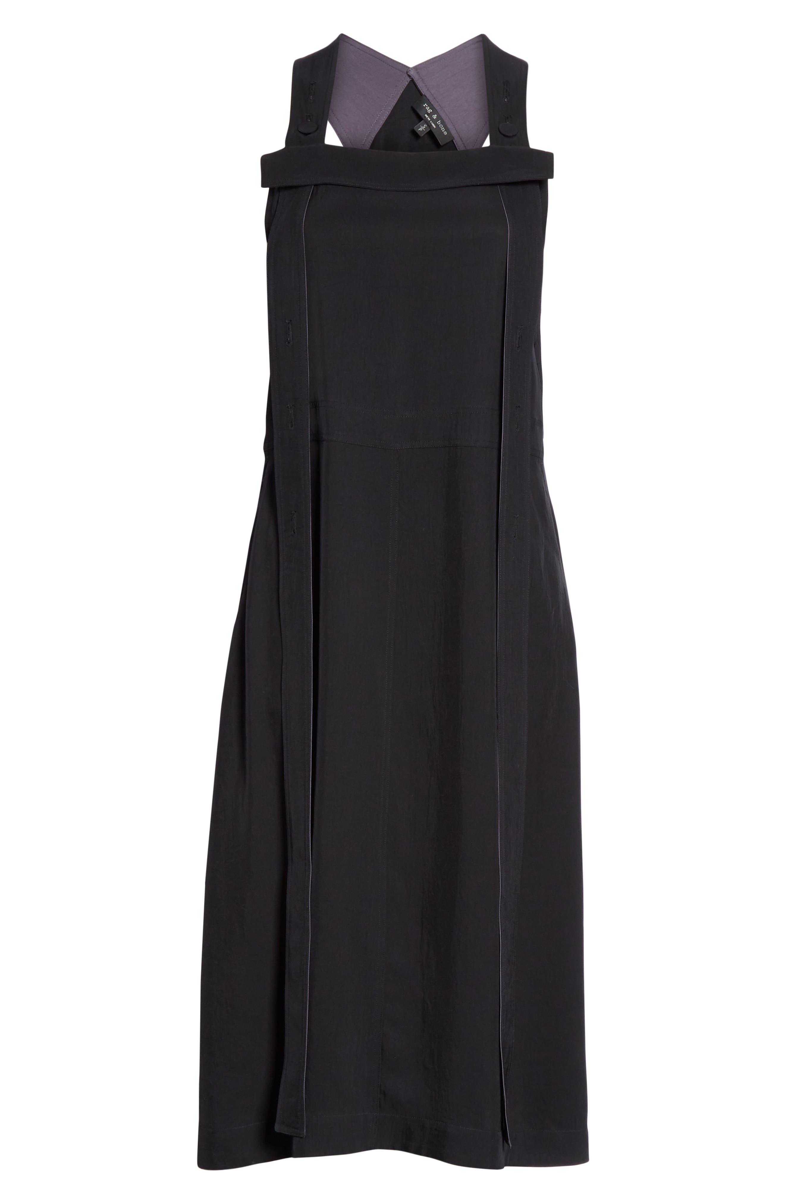 Adrian Pinafore Dress,                             Alternate thumbnail 6, color,                             BLACK