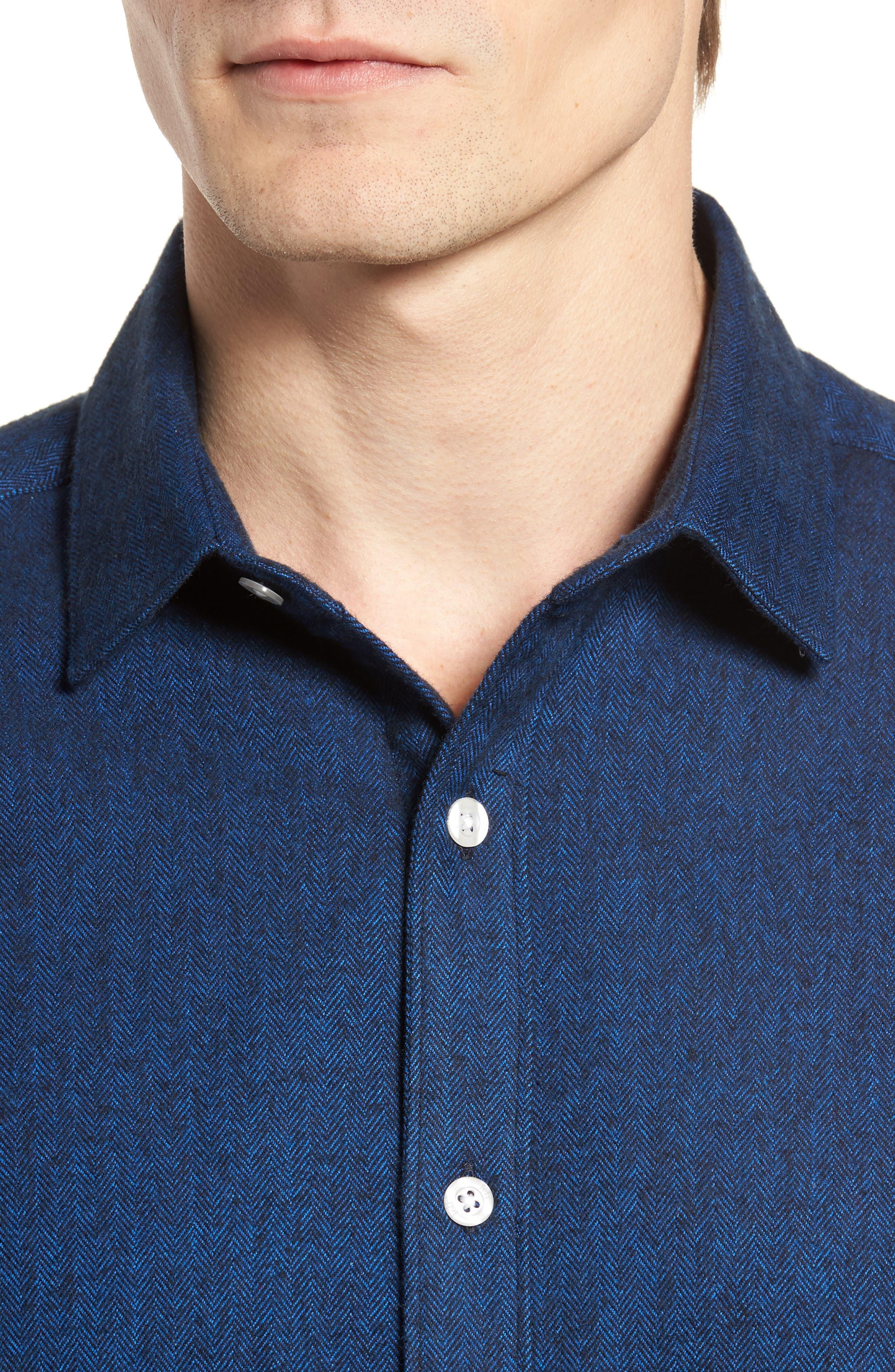 Grafton Slim Fit Herringbone Sport Shirt,                             Alternate thumbnail 4, color,                             410
