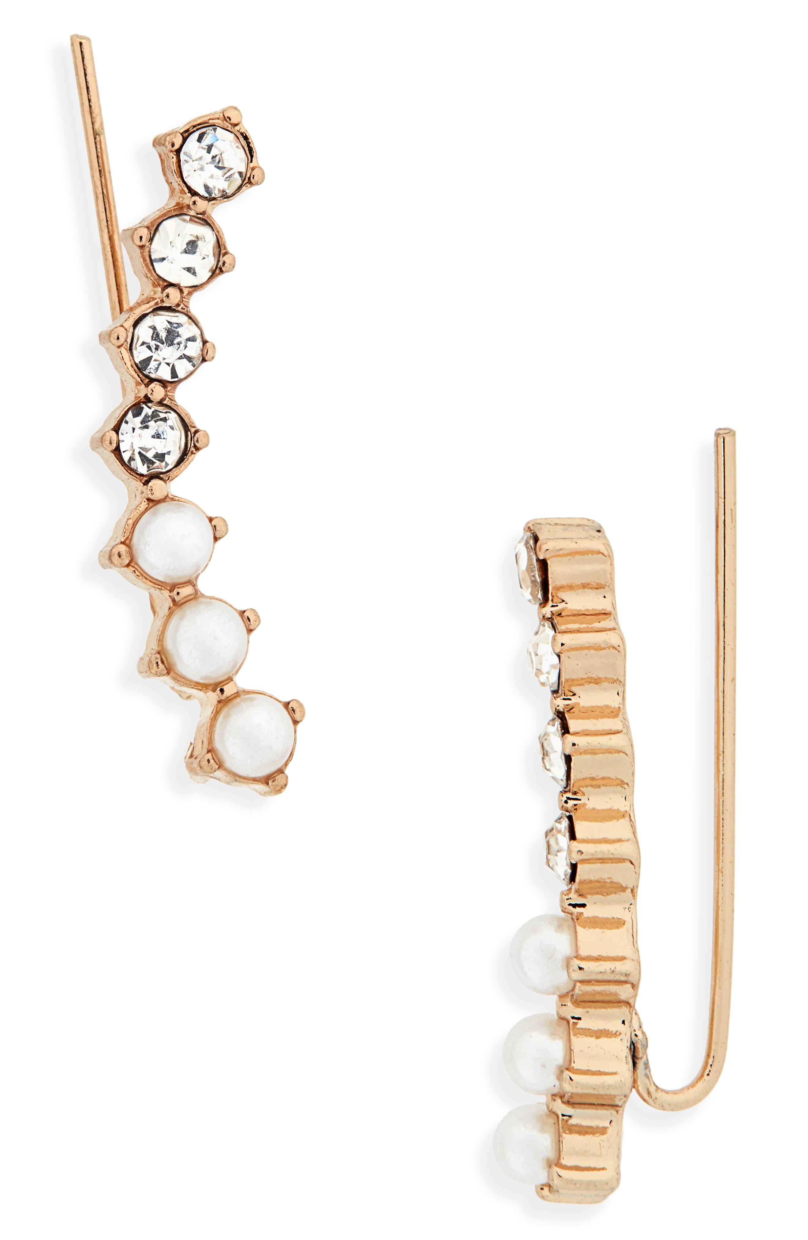 Rhinestone & Imitation Pearl Crawler Earrings,                             Main thumbnail 1, color,                             710