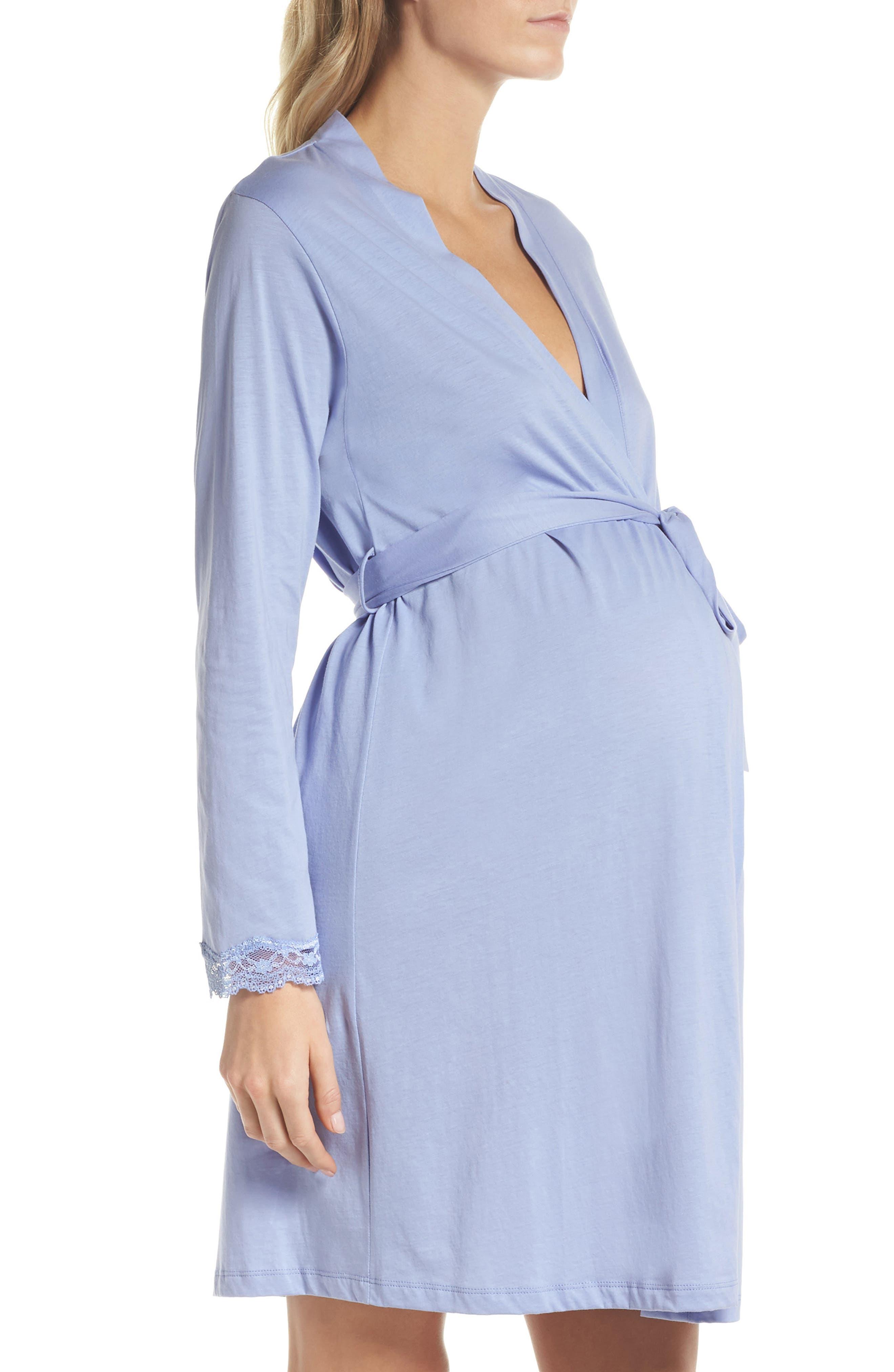 Violette Maternity/Nursing Robe,                             Alternate thumbnail 3, color,                             PURPLE