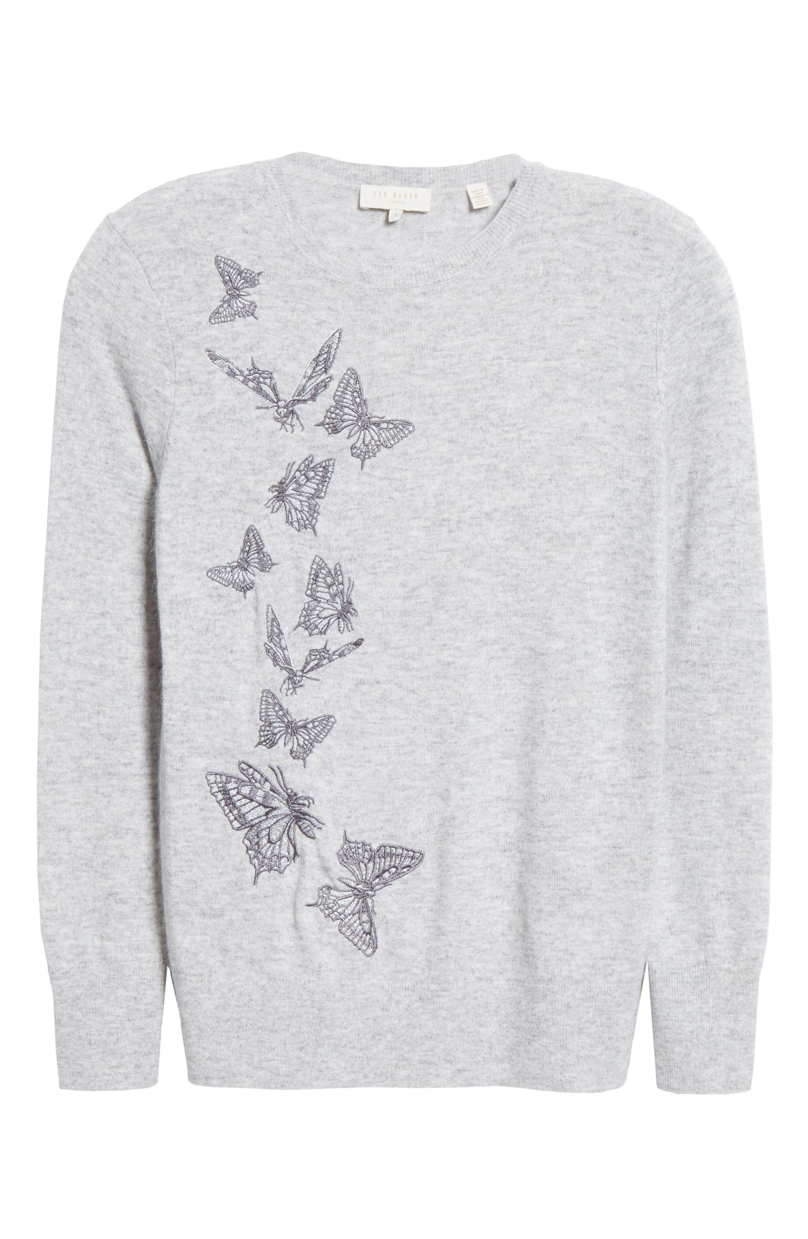 TED BAKER LONDON,                             Redinn Butterfly Sweater,                             Alternate thumbnail 6, color,                             GREY