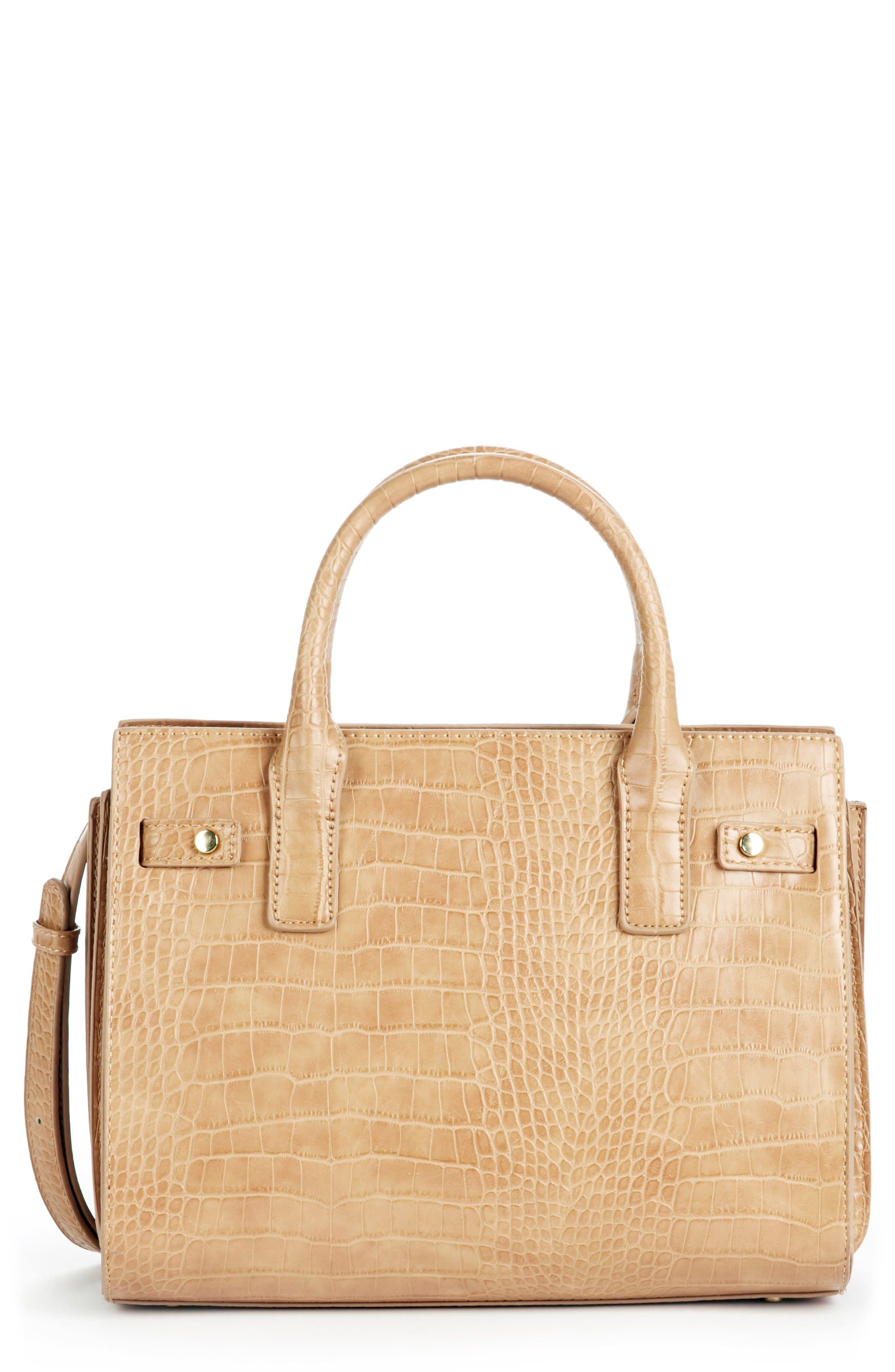 Medium Estella Faux Leather Satchel,                             Main thumbnail 1, color,                             CAMEL