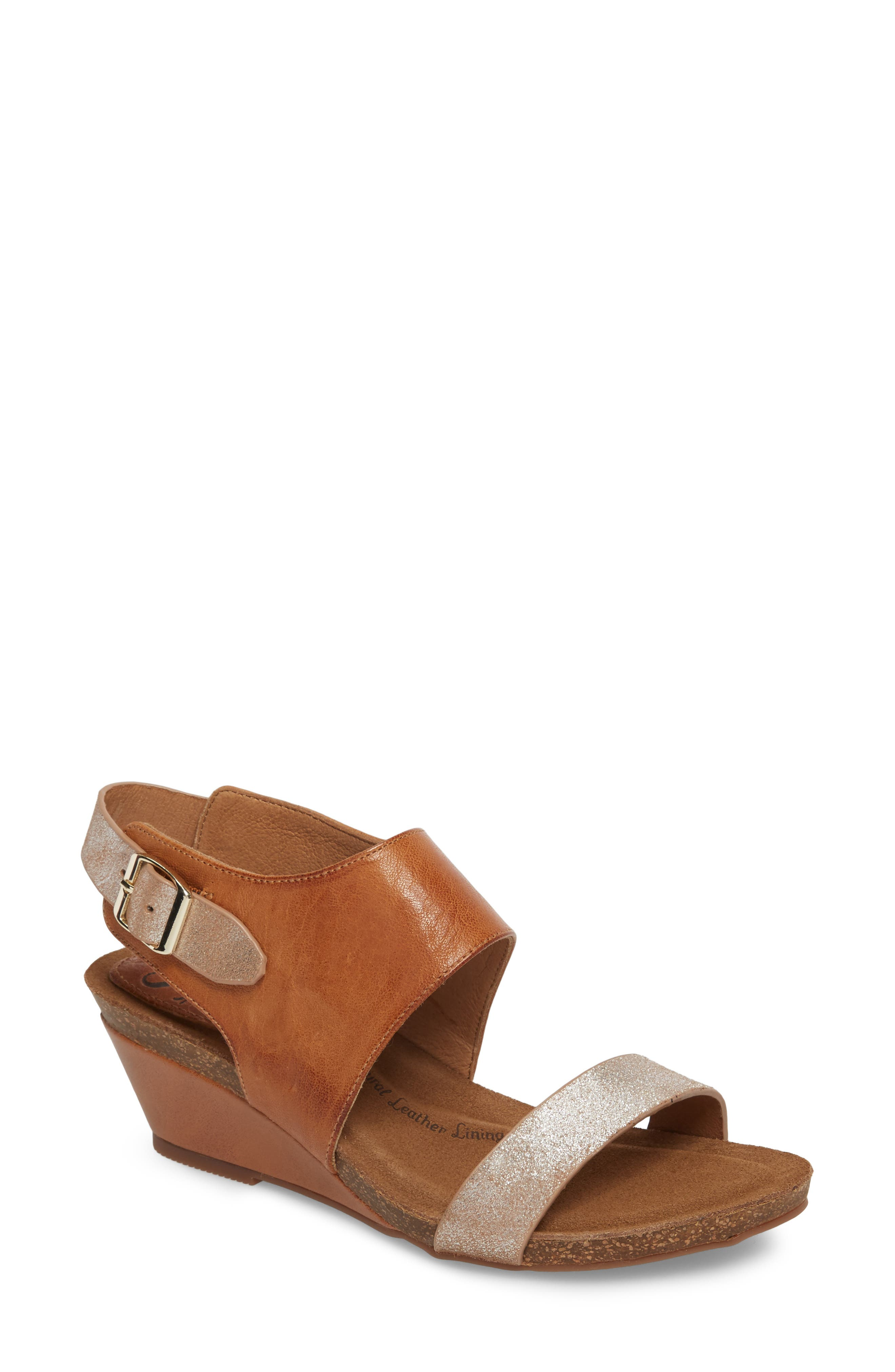 'Vanita' Leather Sandal,                             Main thumbnail 1, color,                             LUGGAGE/ SILVER LEATHER