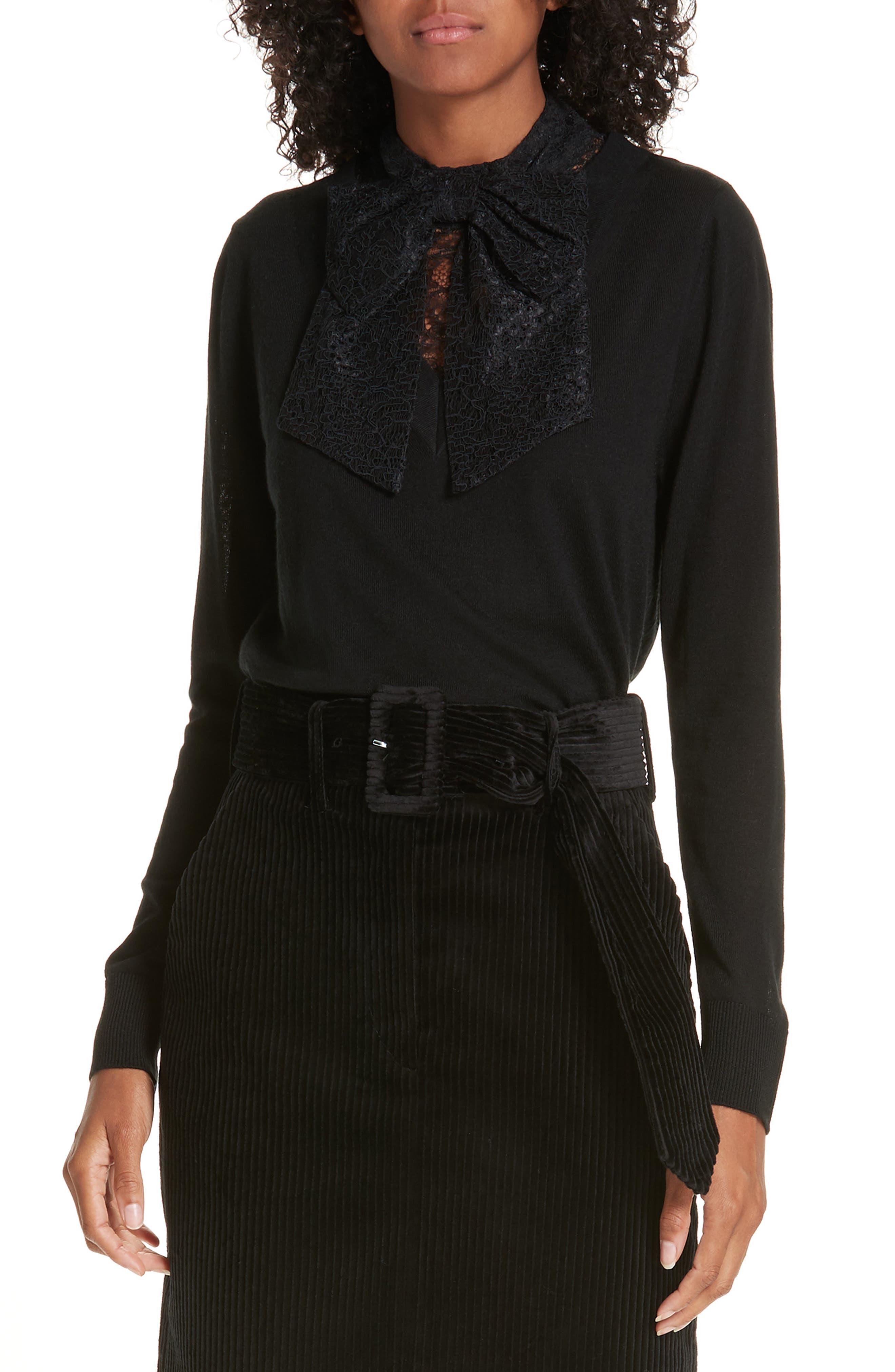 Lace Tie Neck Sweater,                             Main thumbnail 1, color,                             001