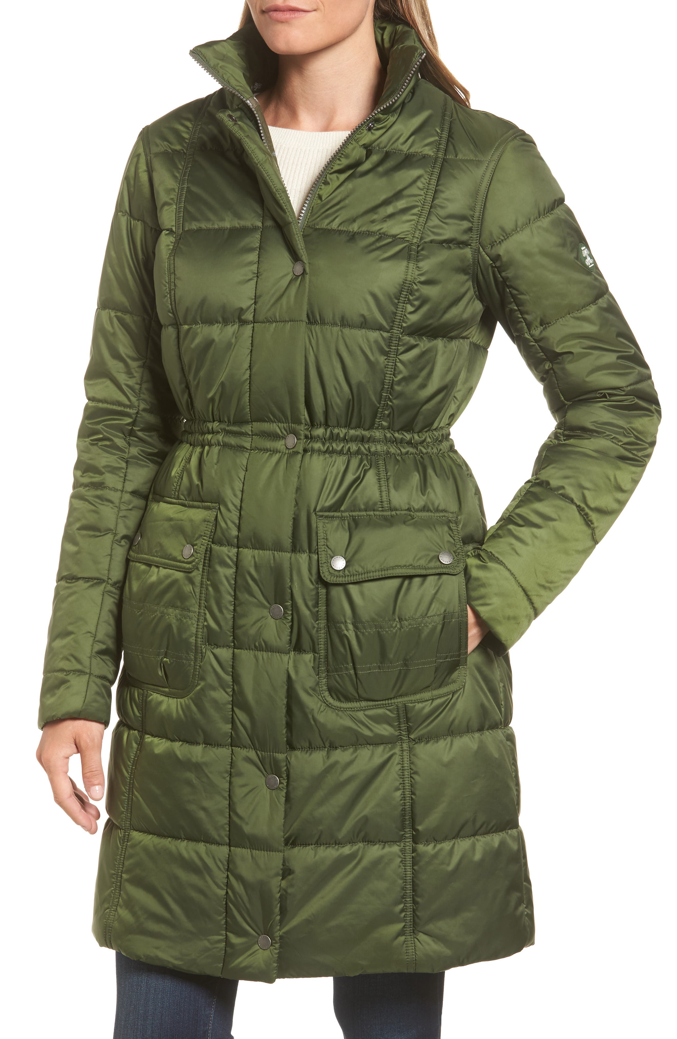 Winterton Water Resistant Hooded Quilted Jacket with Faux Fur Trim,                             Alternate thumbnail 7, color,