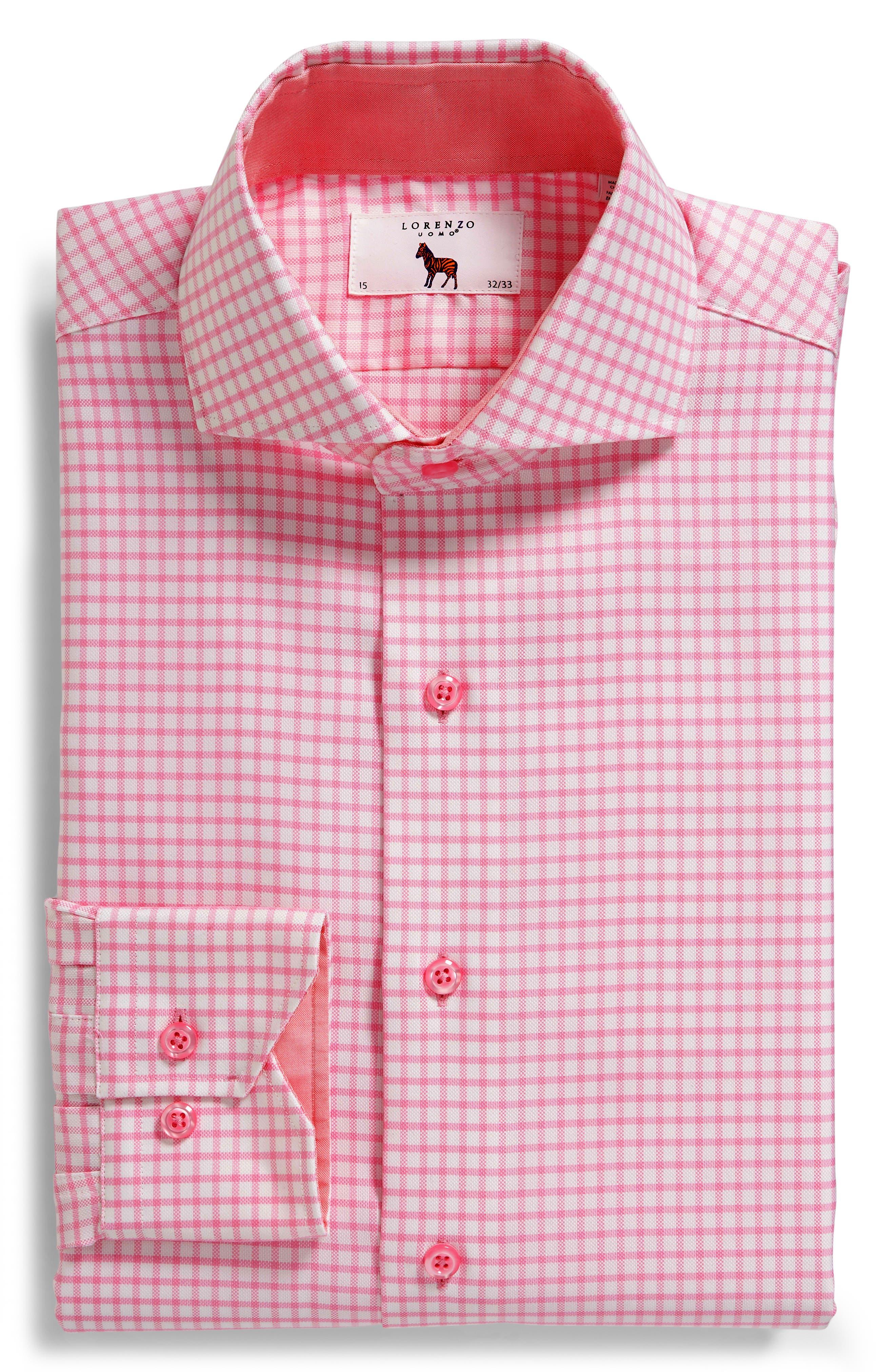 Trim Fit Check Dress Shirt,                             Alternate thumbnail 5, color,                             680