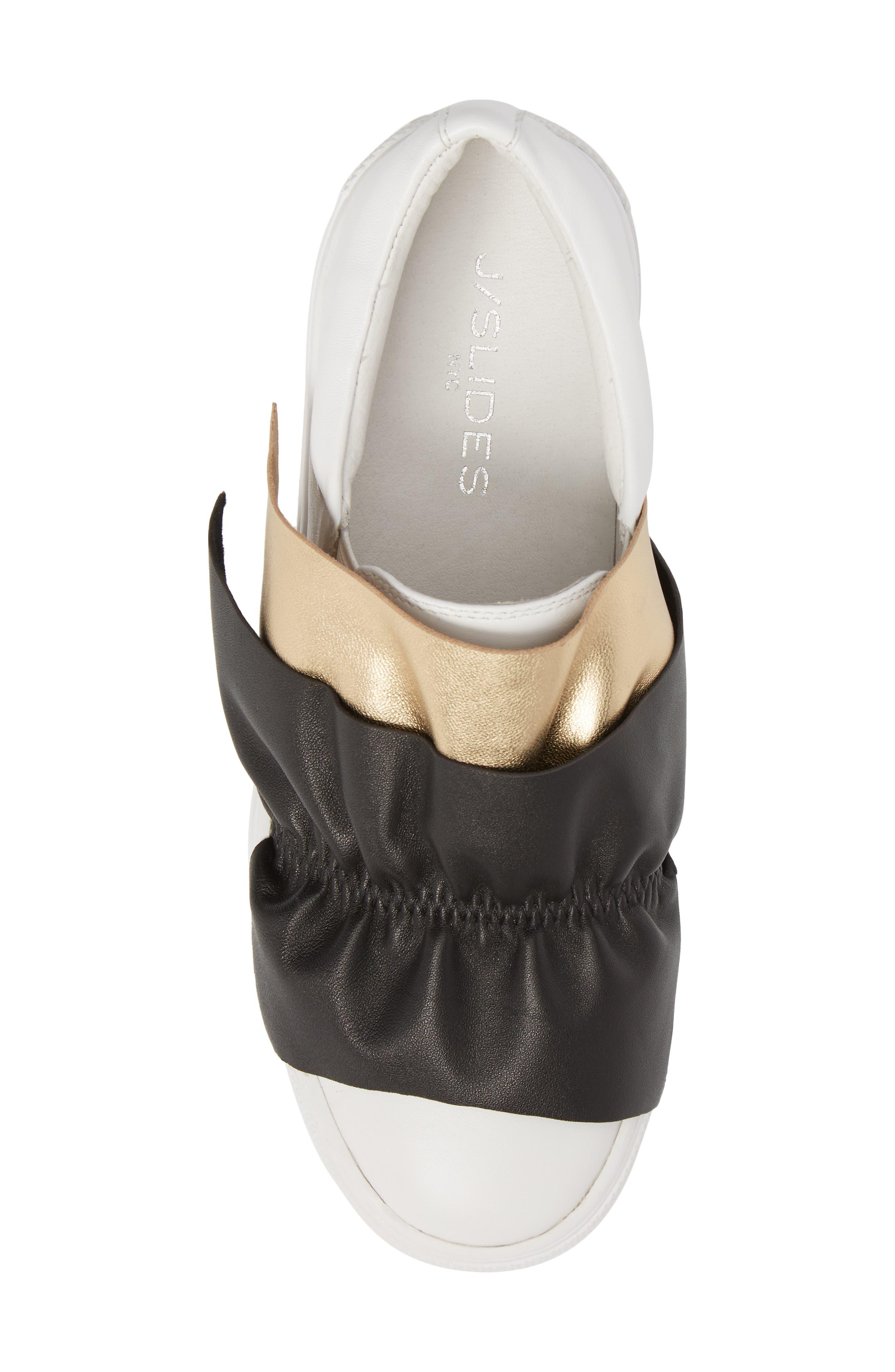 Sadie Ruffle Platform Sneaker,                             Alternate thumbnail 5, color,                             WHITE LEATHER