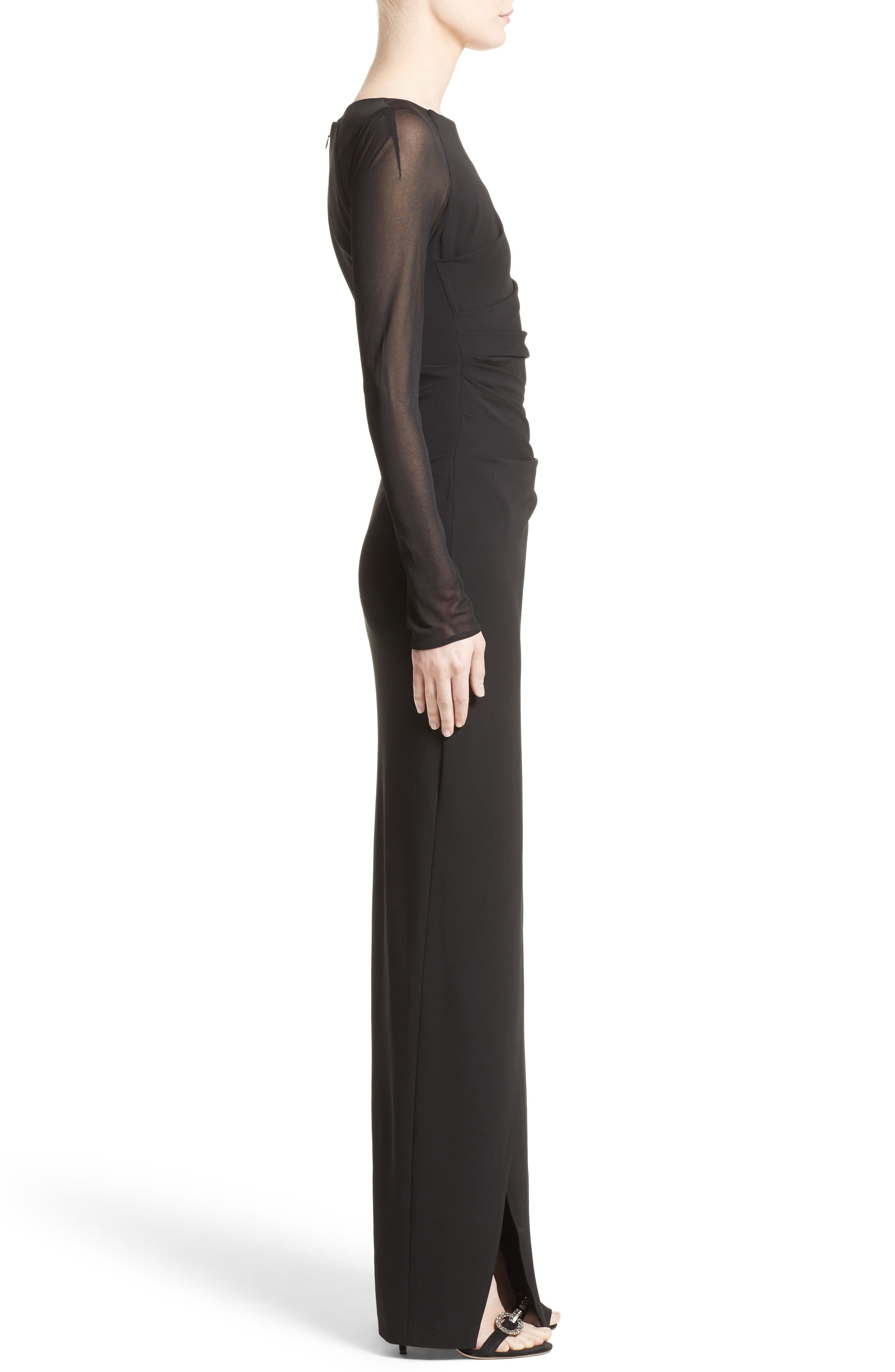 Sheer Sleeve Jersey Column Gown,                             Alternate thumbnail 3, color,                             001