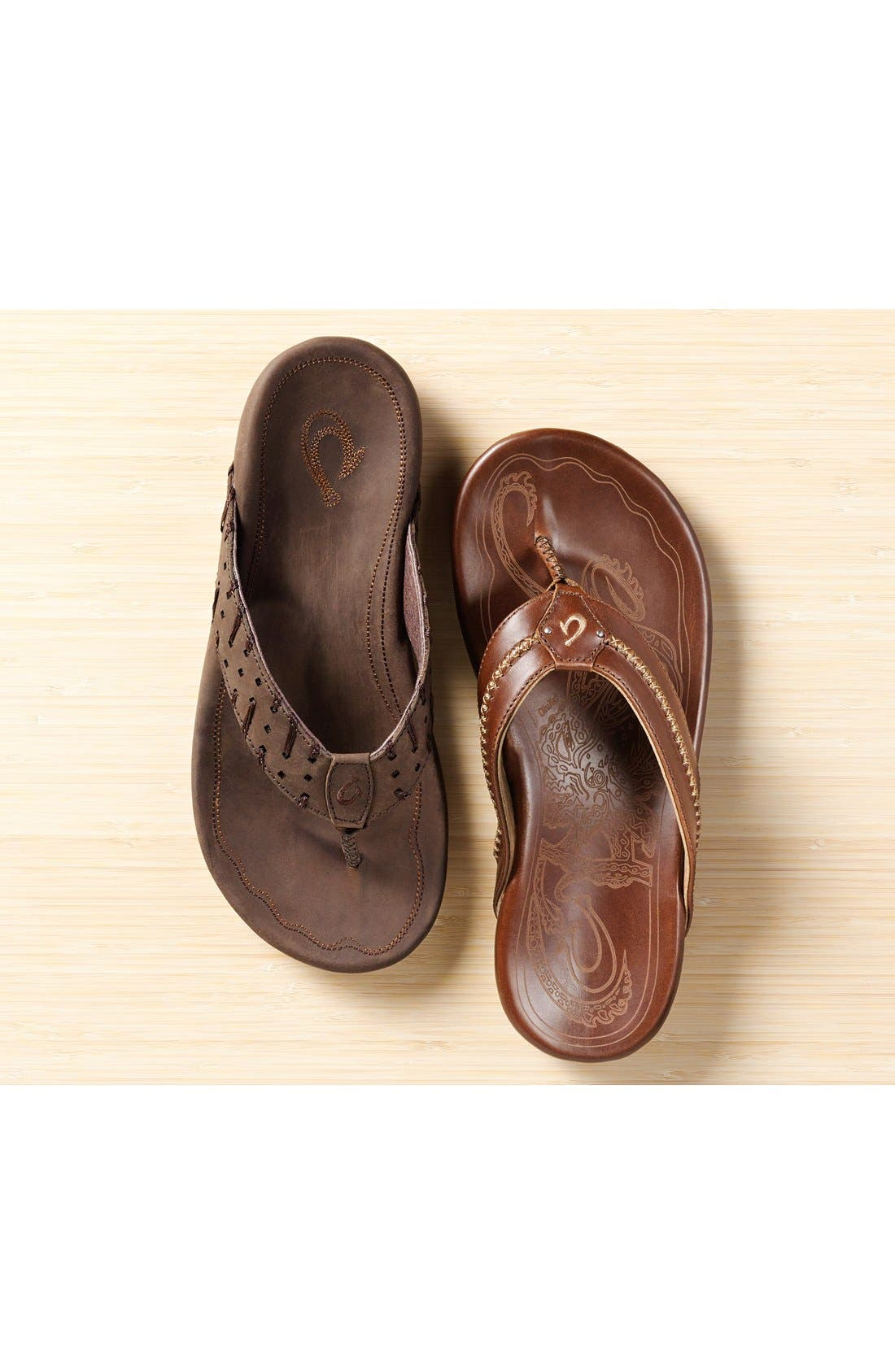 Mea Ola Flip Flop,                             Alternate thumbnail 9, color,                             TERRA/ DARK WOOD LEATHER