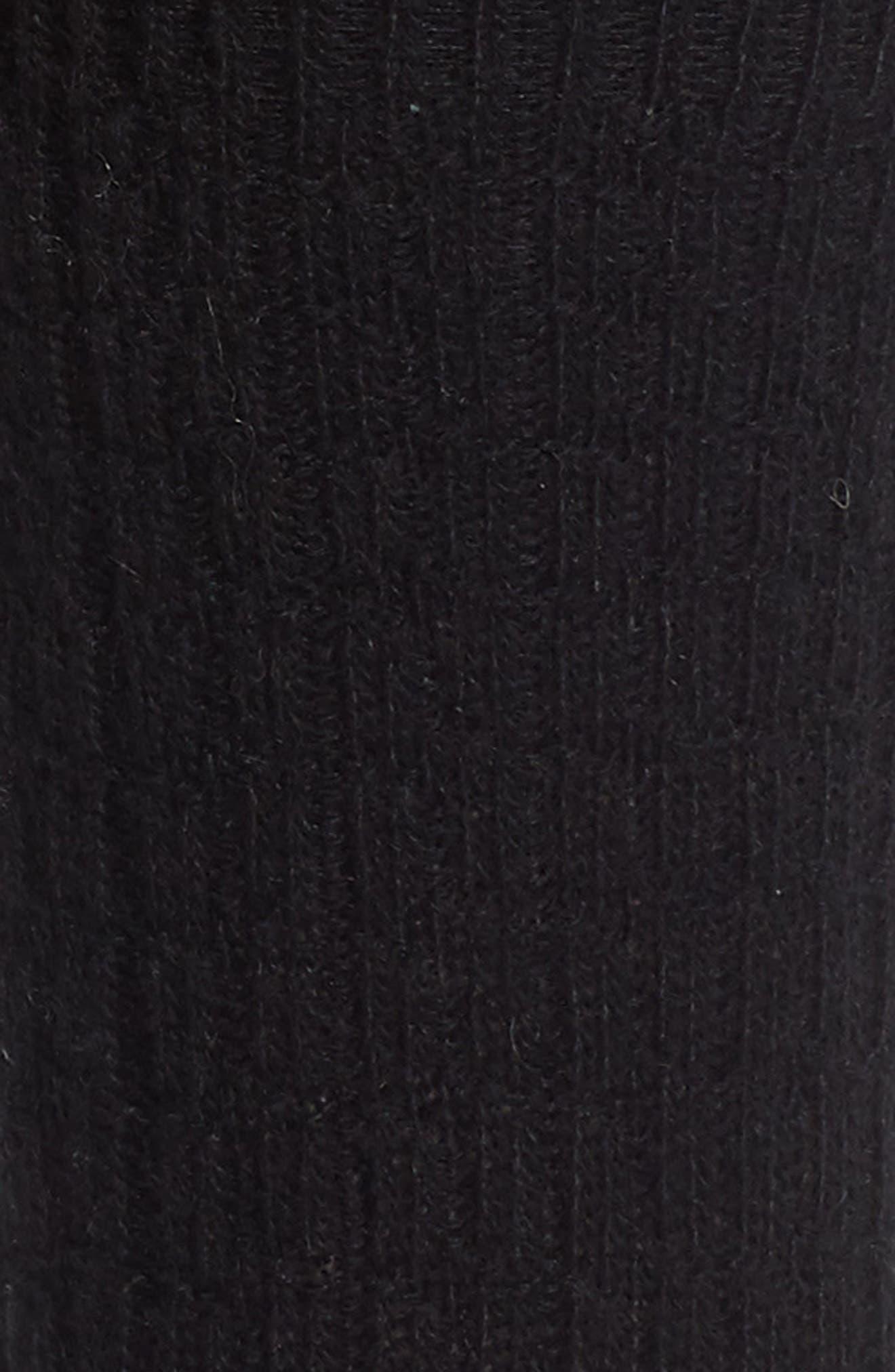 Cable Knit Cashmere Blend Crew Socks,                             Alternate thumbnail 2, color,                             BLACK