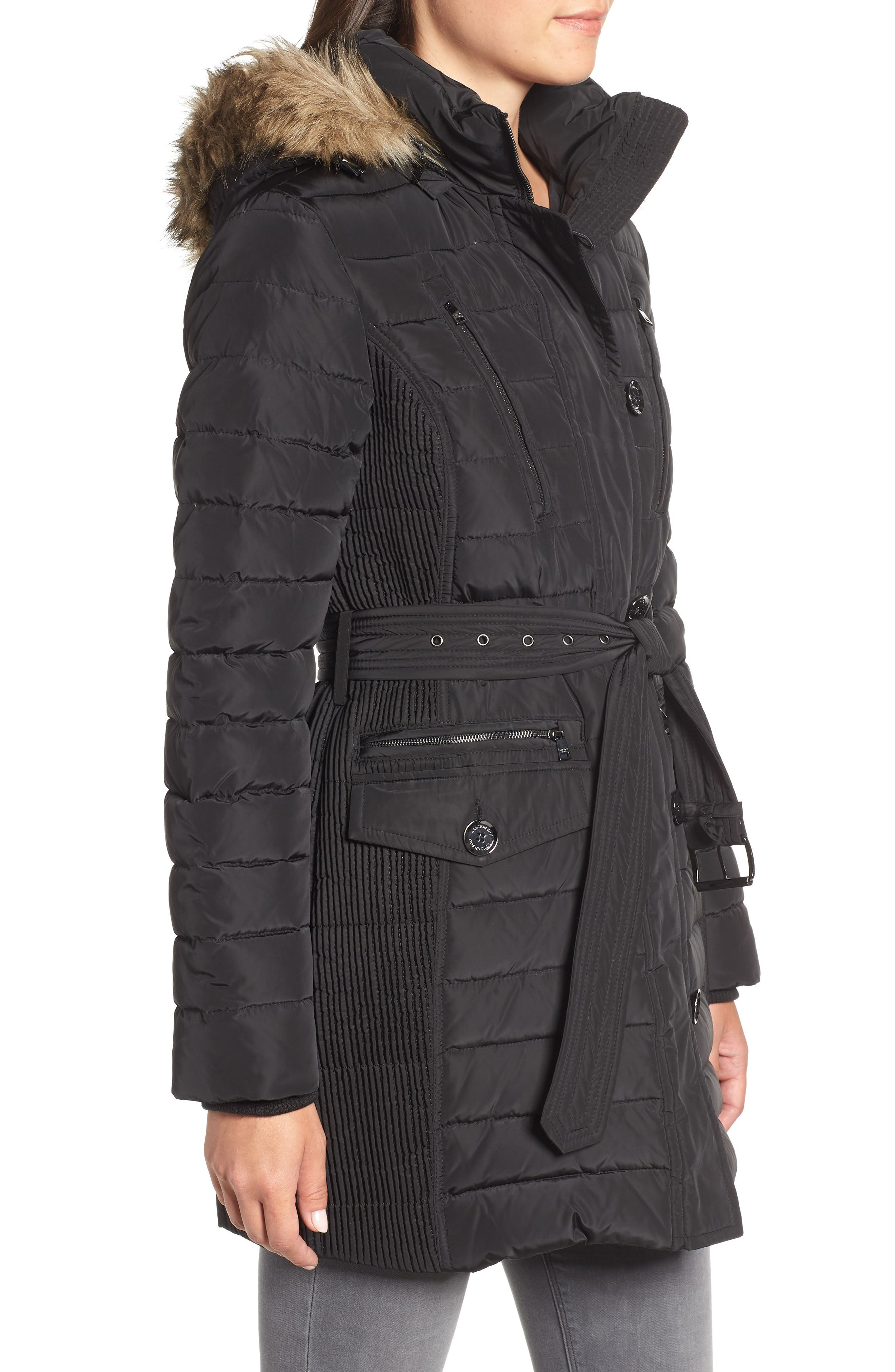 Belted Down Coat with Faux Fur Trim,                             Alternate thumbnail 3, color,                             BLACK