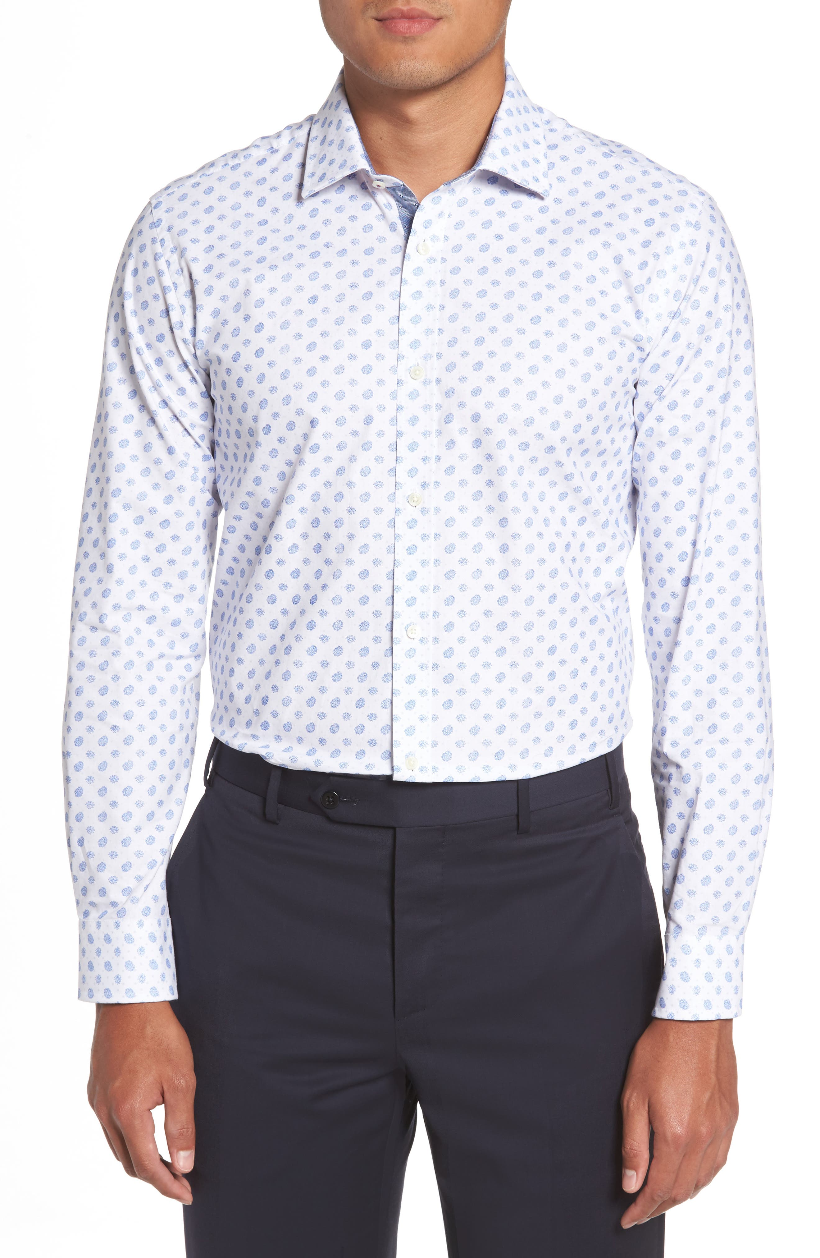 Midra Trim Fit Paisley Dress Shirt,                             Main thumbnail 1, color,                             110