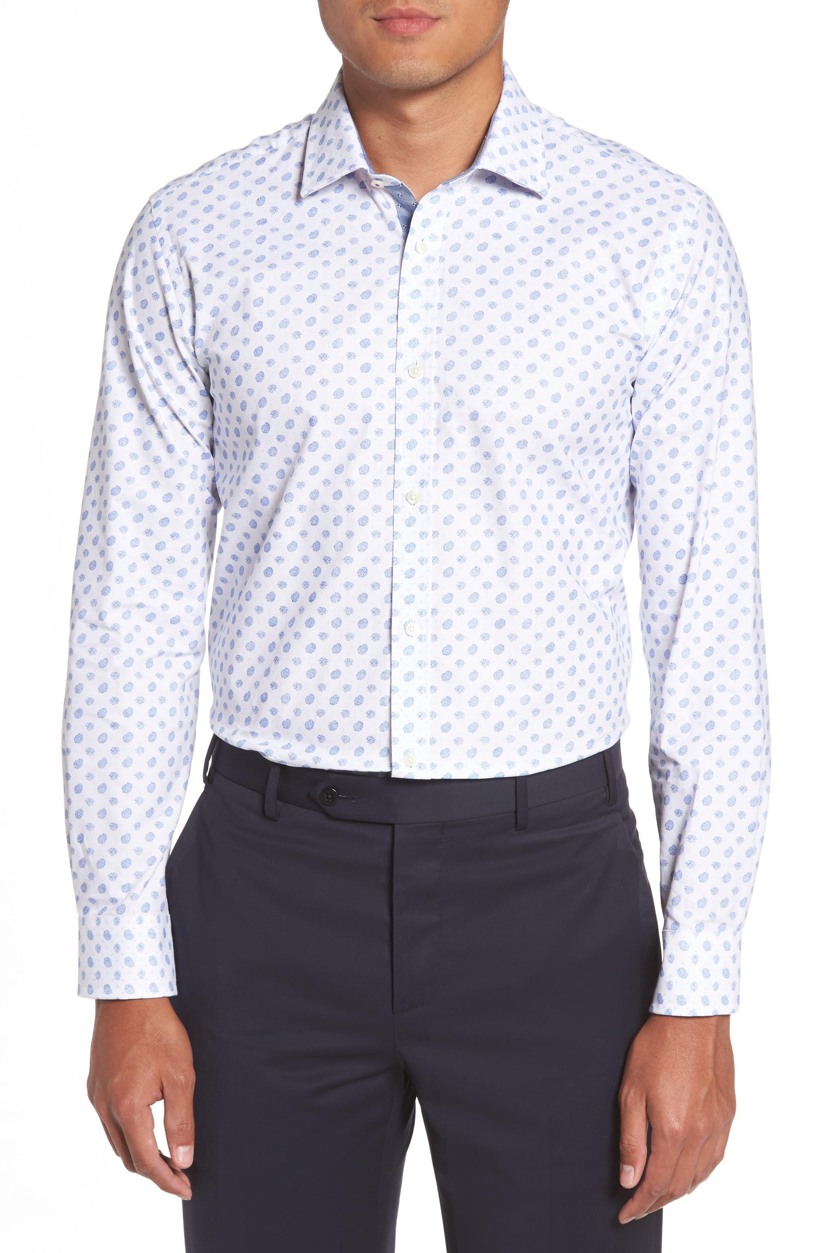 Midra Trim Fit Paisley Dress Shirt,                         Main,                         color, 110