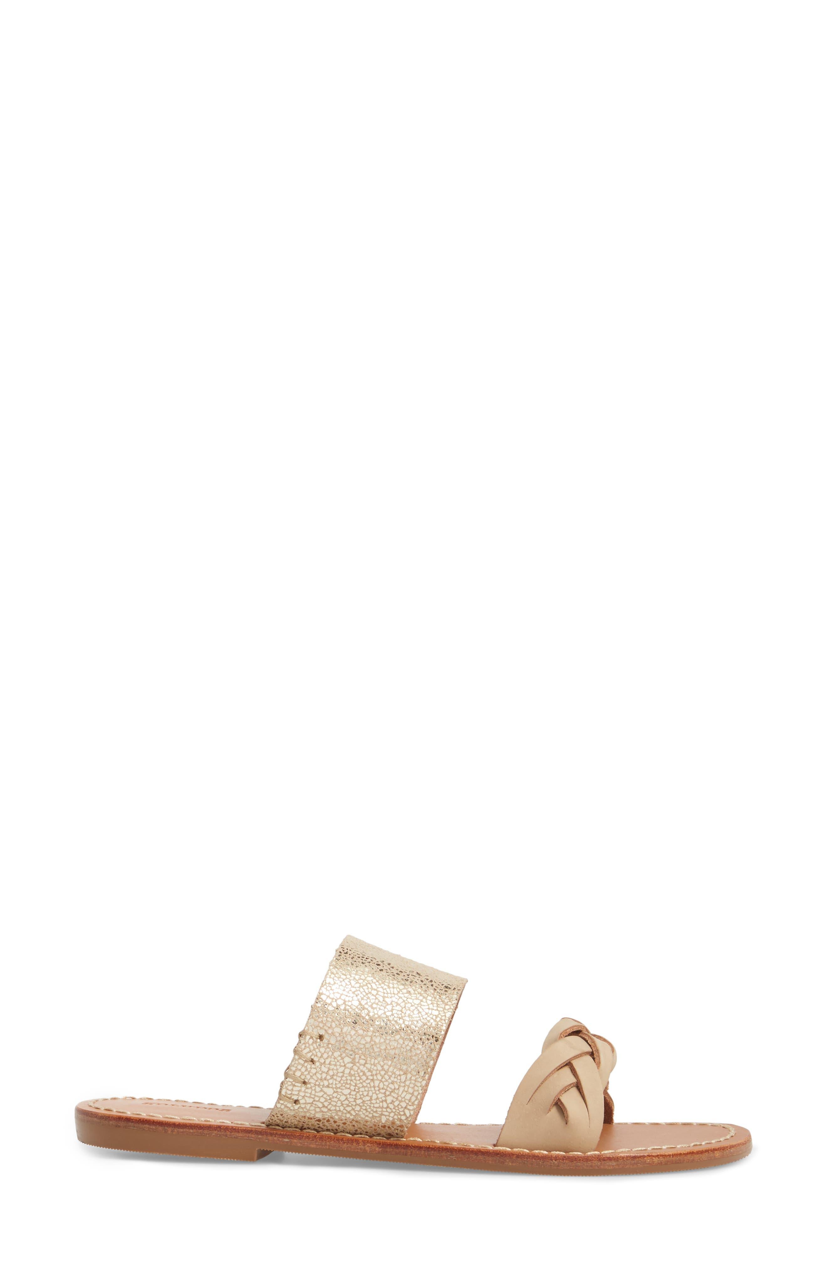 Slide Sandal,                             Alternate thumbnail 3, color,                             NUDE/ PALE GOLD LEATHER