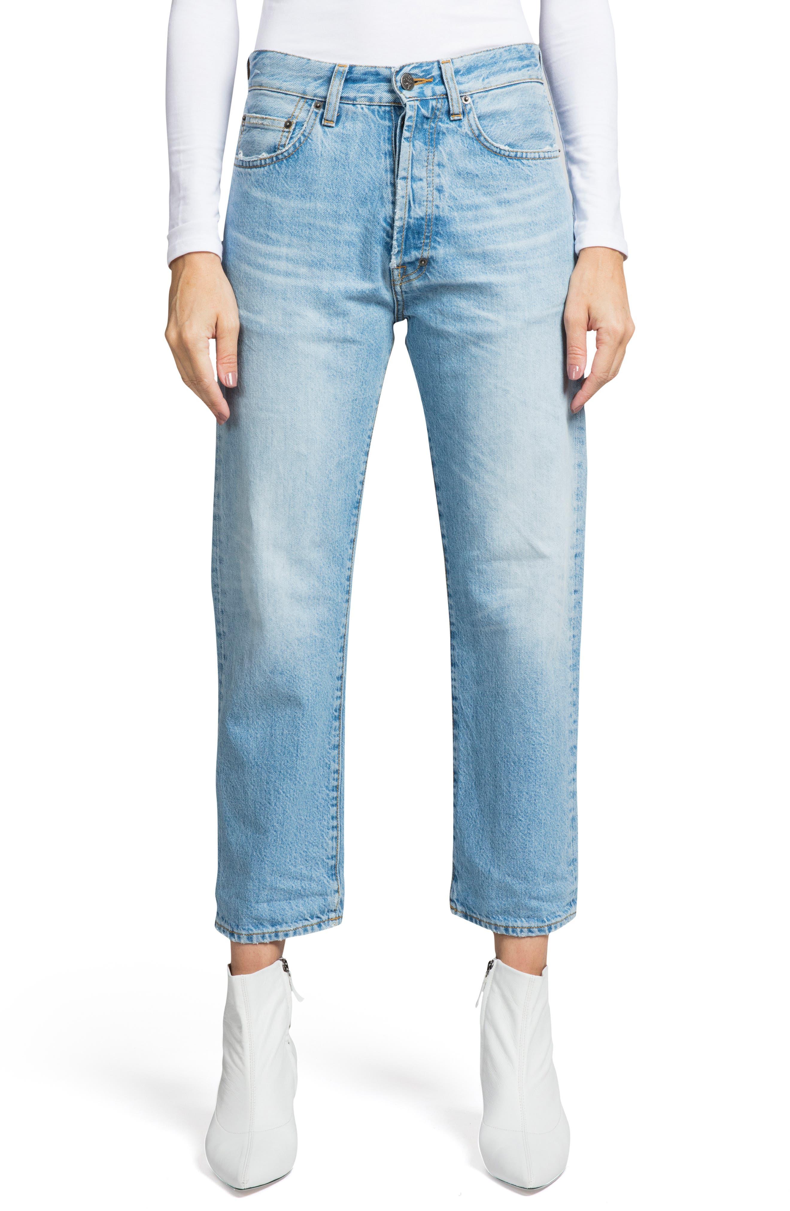 PRPS Super Relaxed Crop Straight-Leg Boyfriend Jeans in Light Indigo