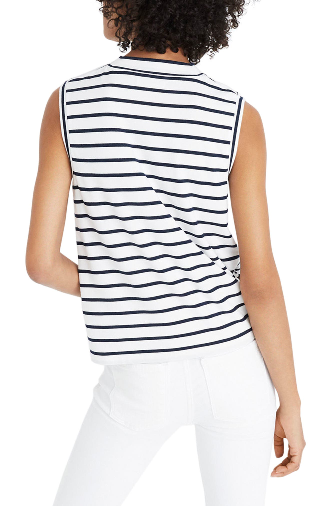 Stripe Mock Neck Tank,                             Alternate thumbnail 2, color,                             100
