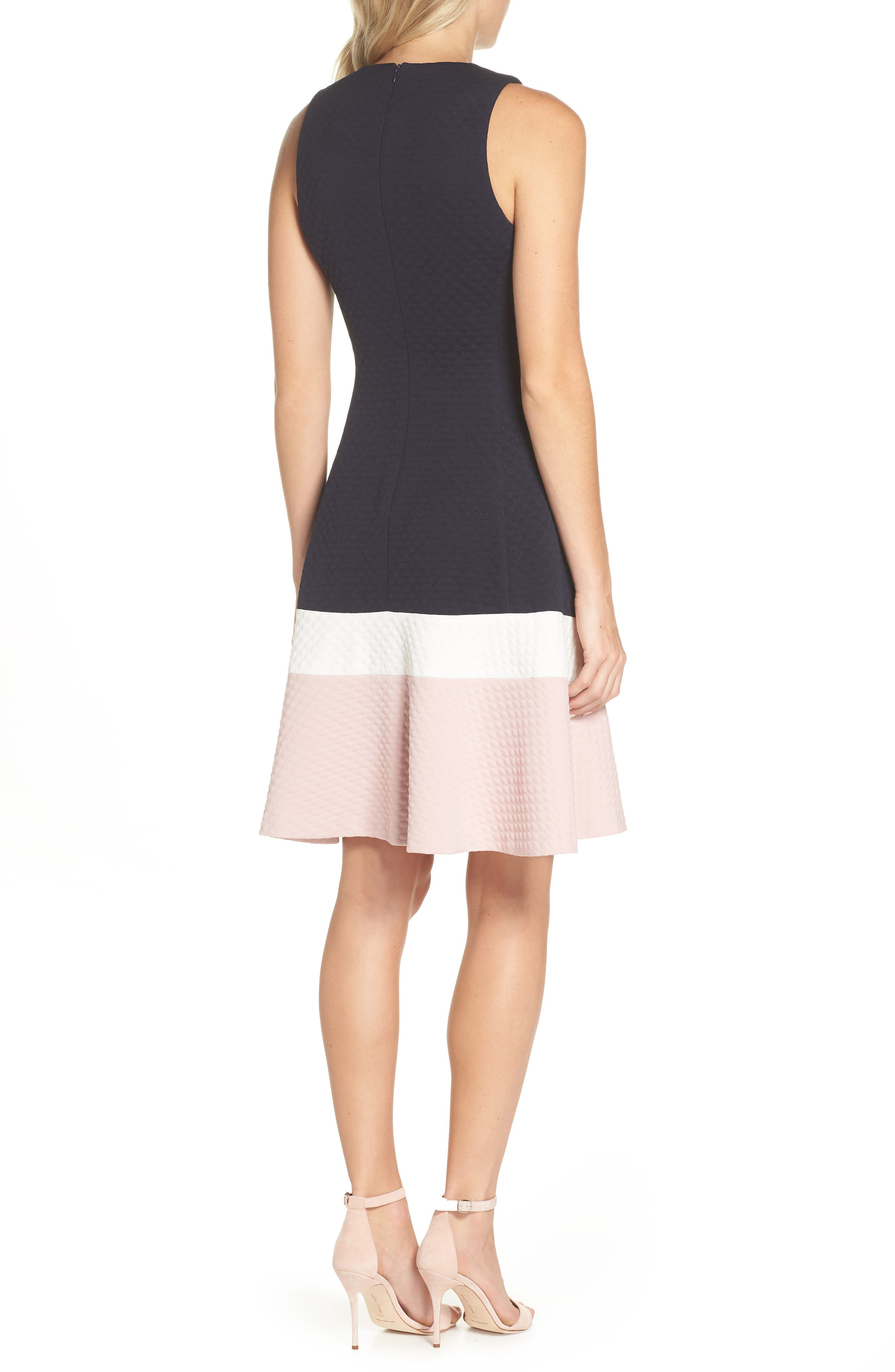 Colorblock Texture Knit Fit & Flare Dress,                             Alternate thumbnail 2, color,                             NAVY/ IVORY/ BLUSH